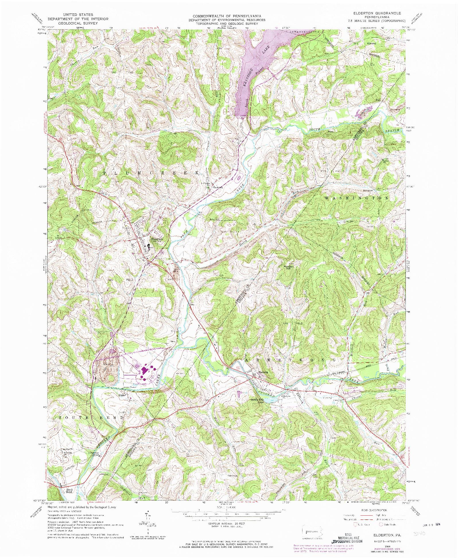 USGS 1:24000-SCALE QUADRANGLE FOR ELDERTON, PA 1964