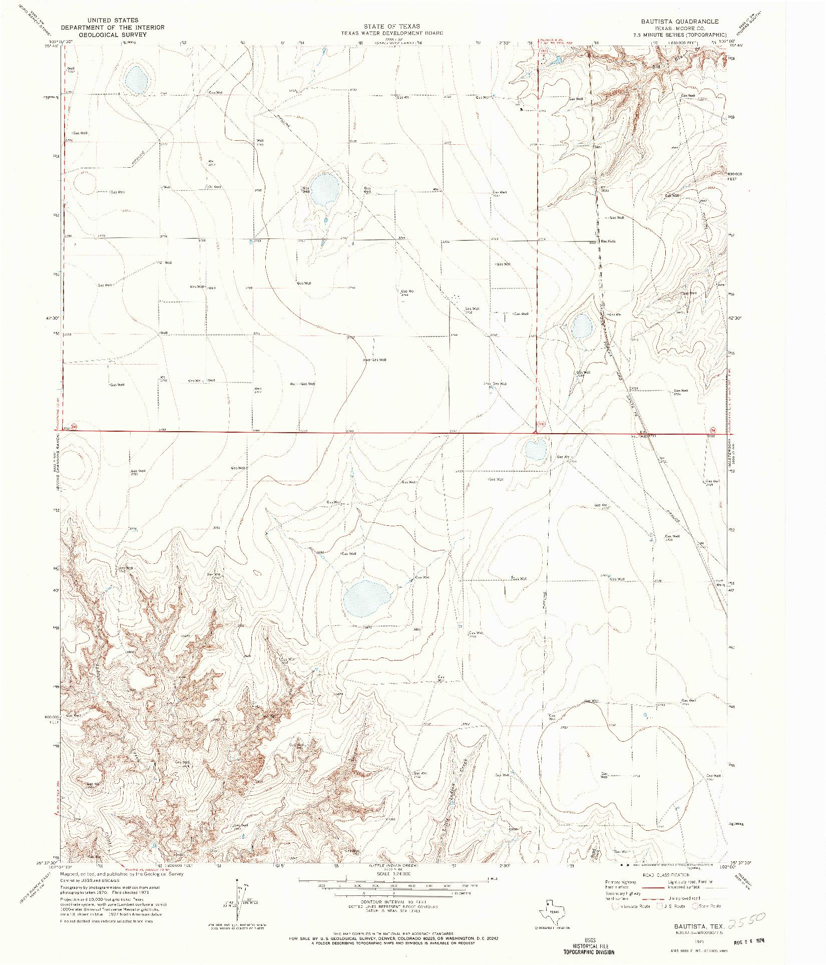USGS 1:24000-SCALE QUADRANGLE FOR BAUTISTA, TX 1971