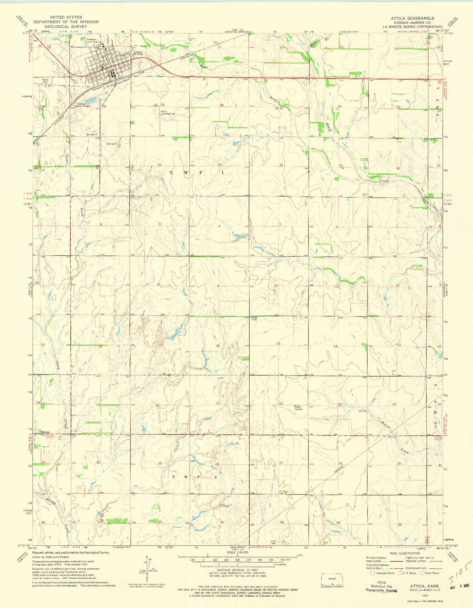 USGS 1:24000-SCALE QUADRANGLE FOR ATTICA, KS 1972