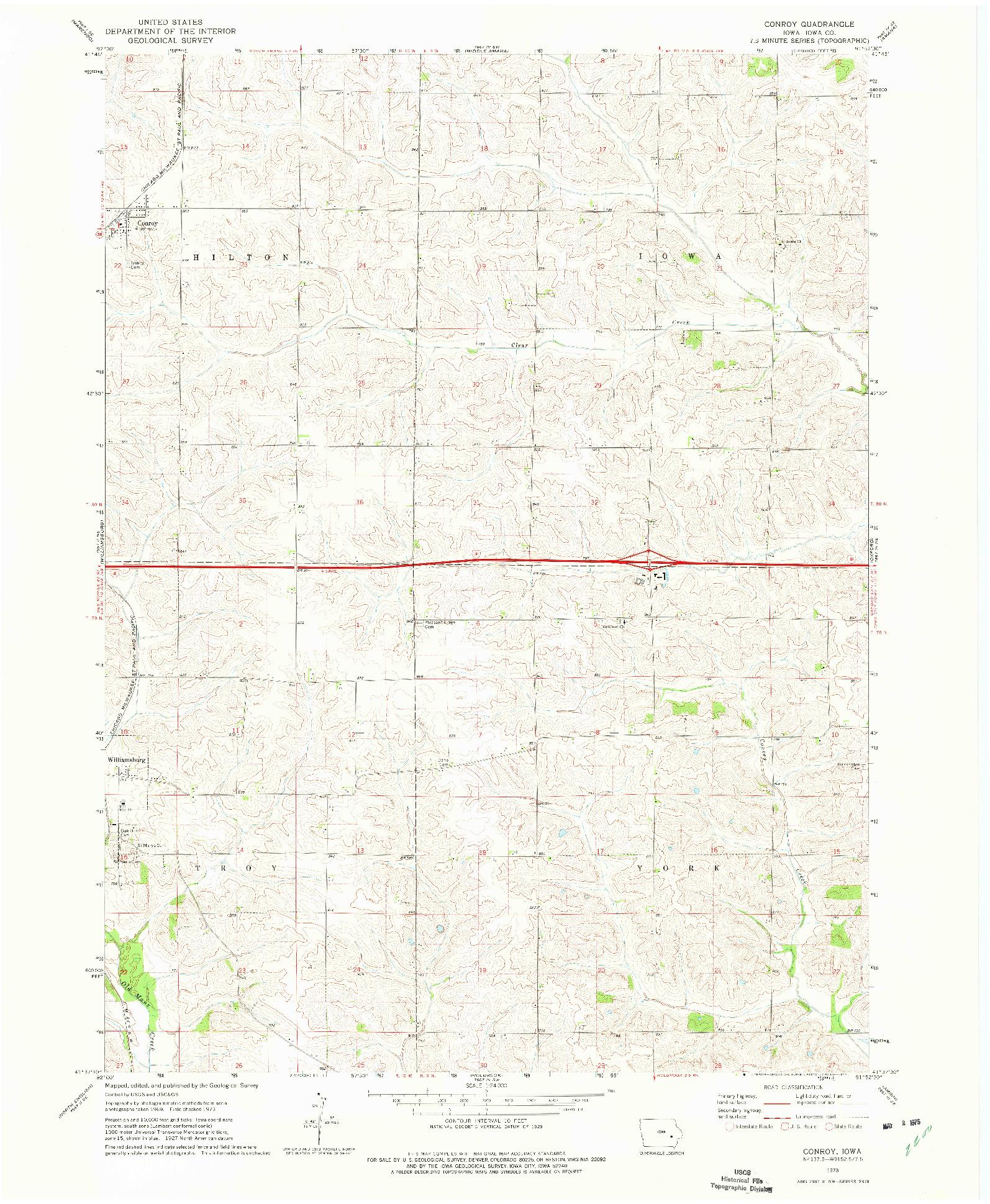 USGS 1:24000-SCALE QUADRANGLE FOR CONROY, IA 1973