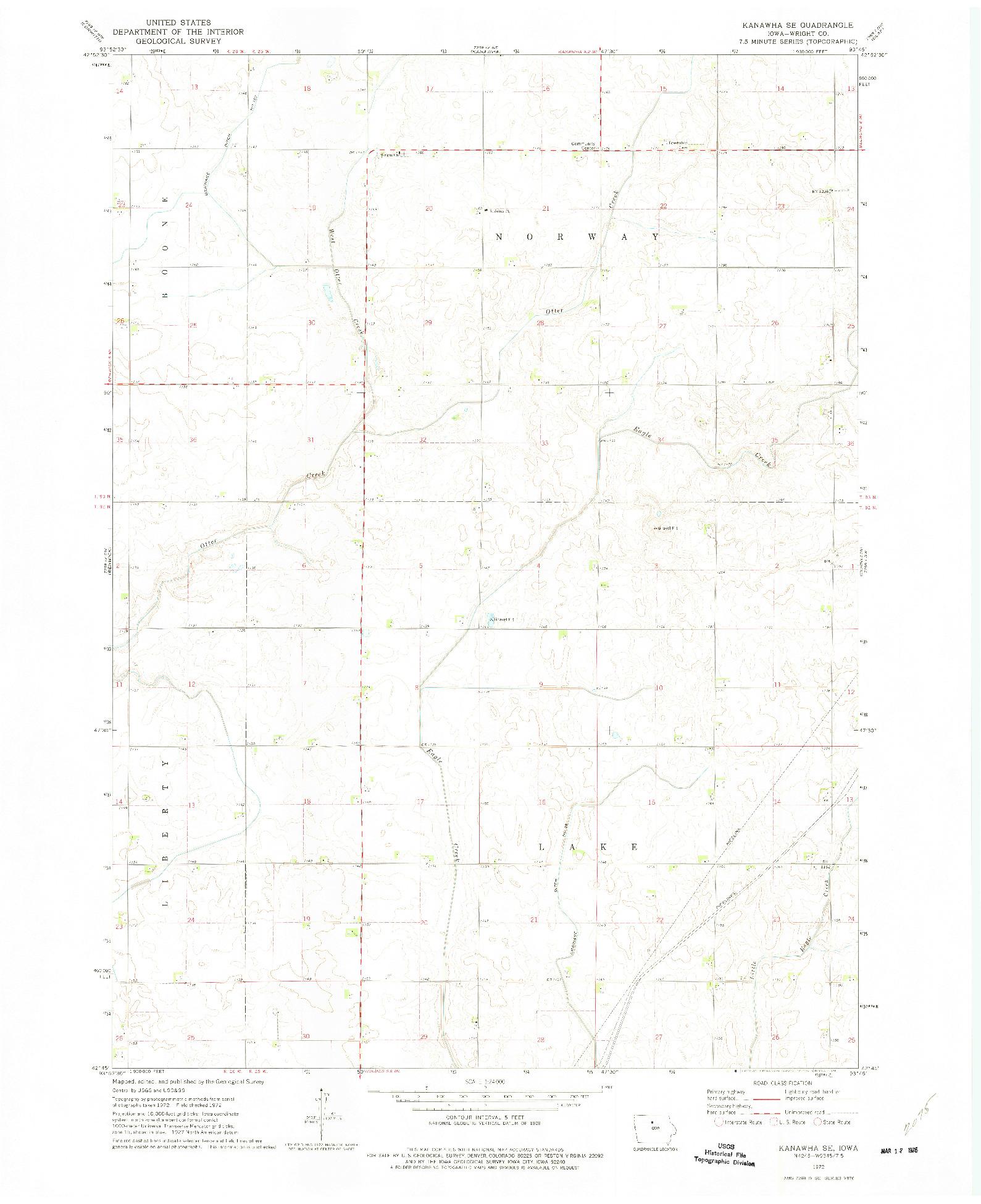 USGS 1:24000-SCALE QUADRANGLE FOR KANAWHA SE, IA 1972