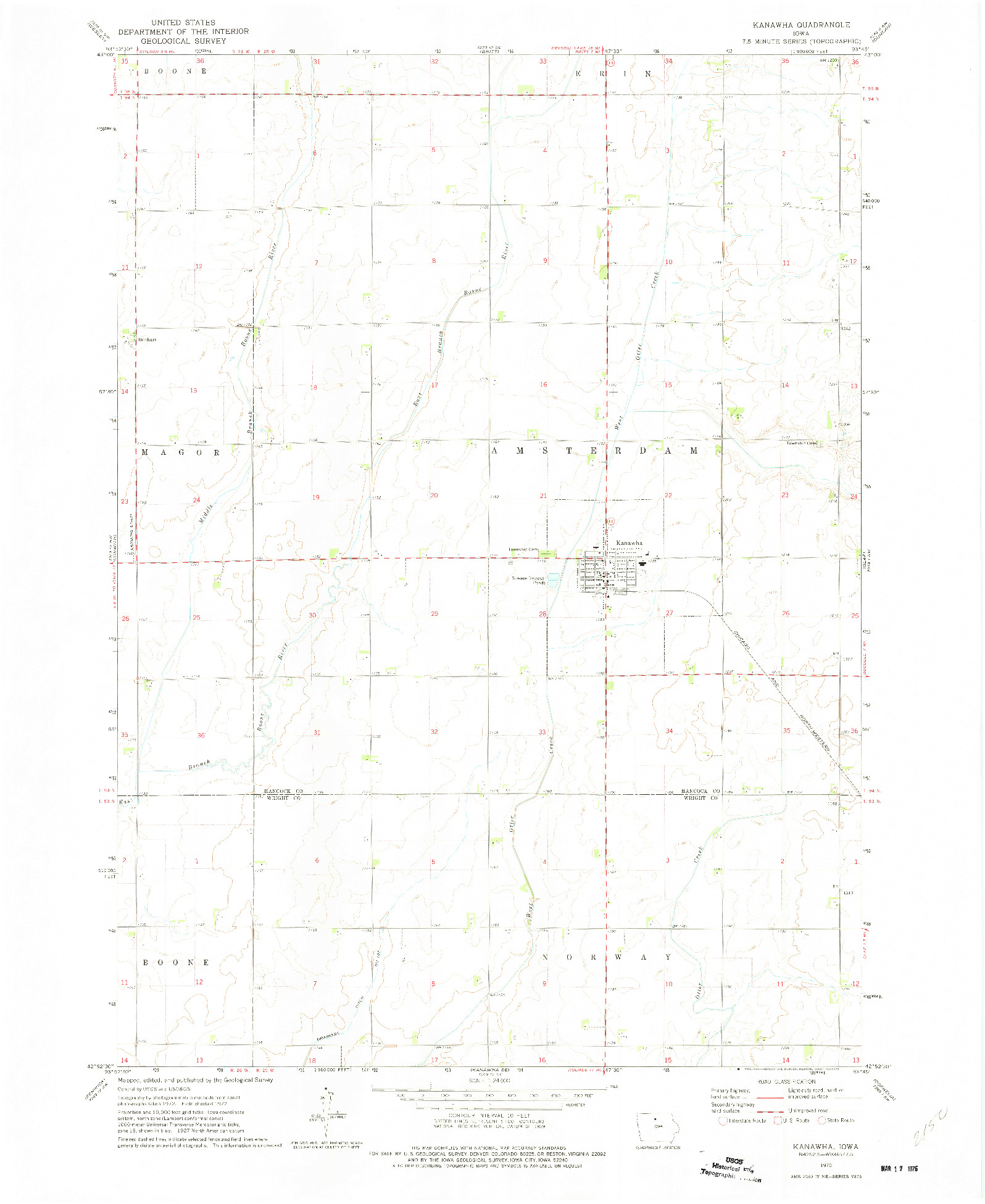 USGS 1:24000-SCALE QUADRANGLE FOR KANAWHA, IA 1972