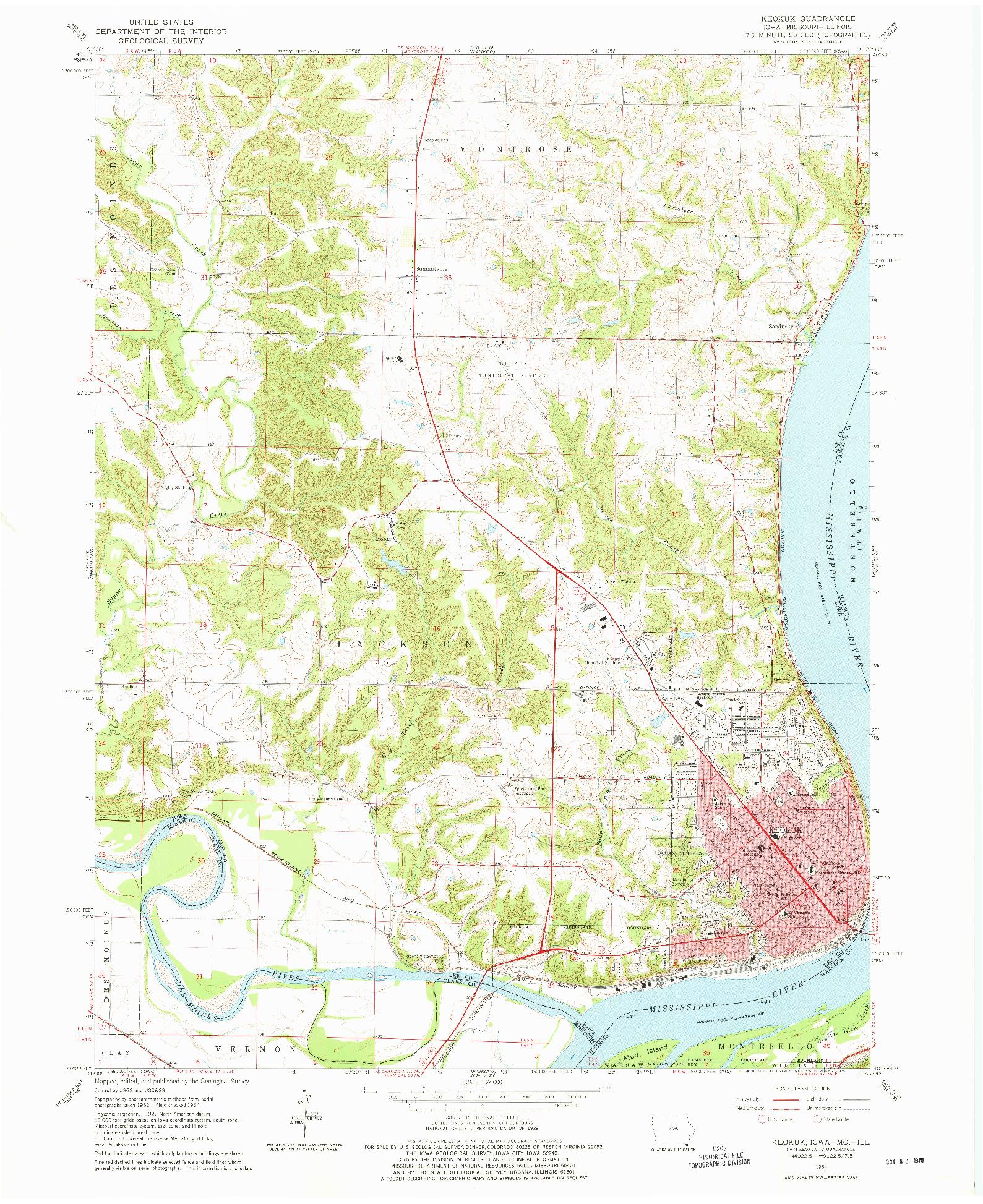 USGS 1:24000-SCALE QUADRANGLE FOR KEOKUK, IA 1964
