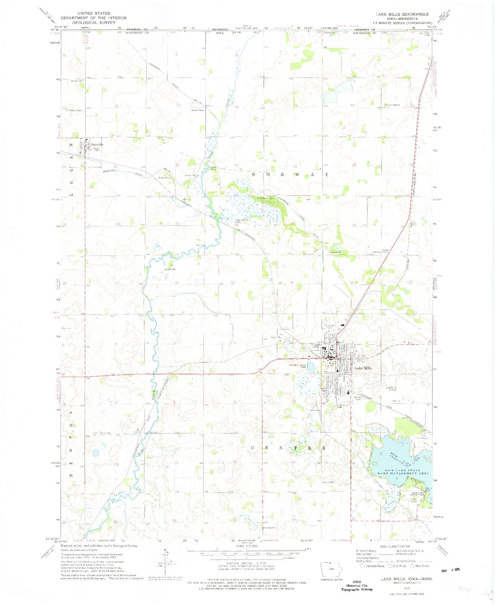 USGS 1:24000-SCALE QUADRANGLE FOR LAKE MILLS, IA 1972