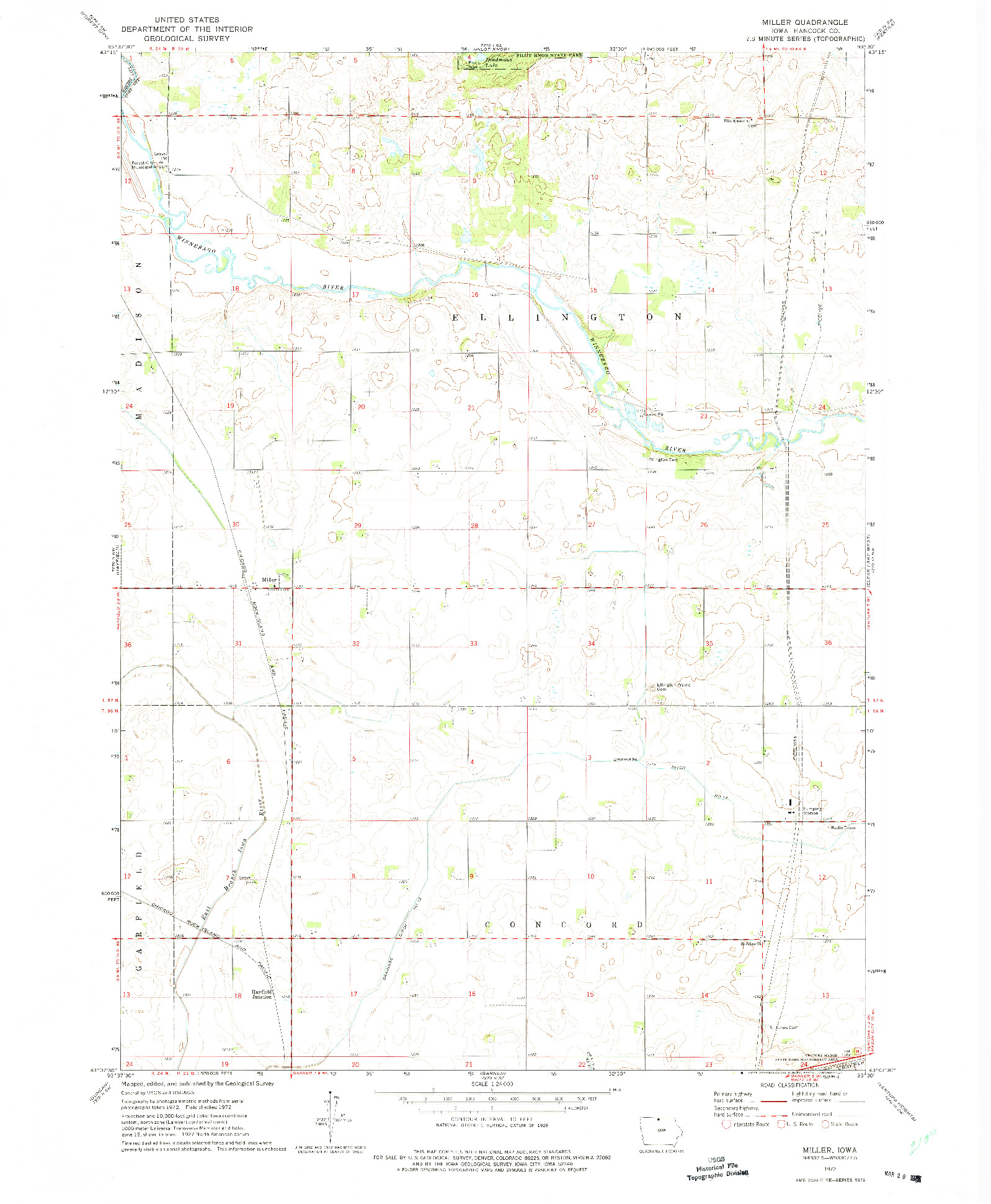 USGS 1:24000-SCALE QUADRANGLE FOR MILLER, IA 1972