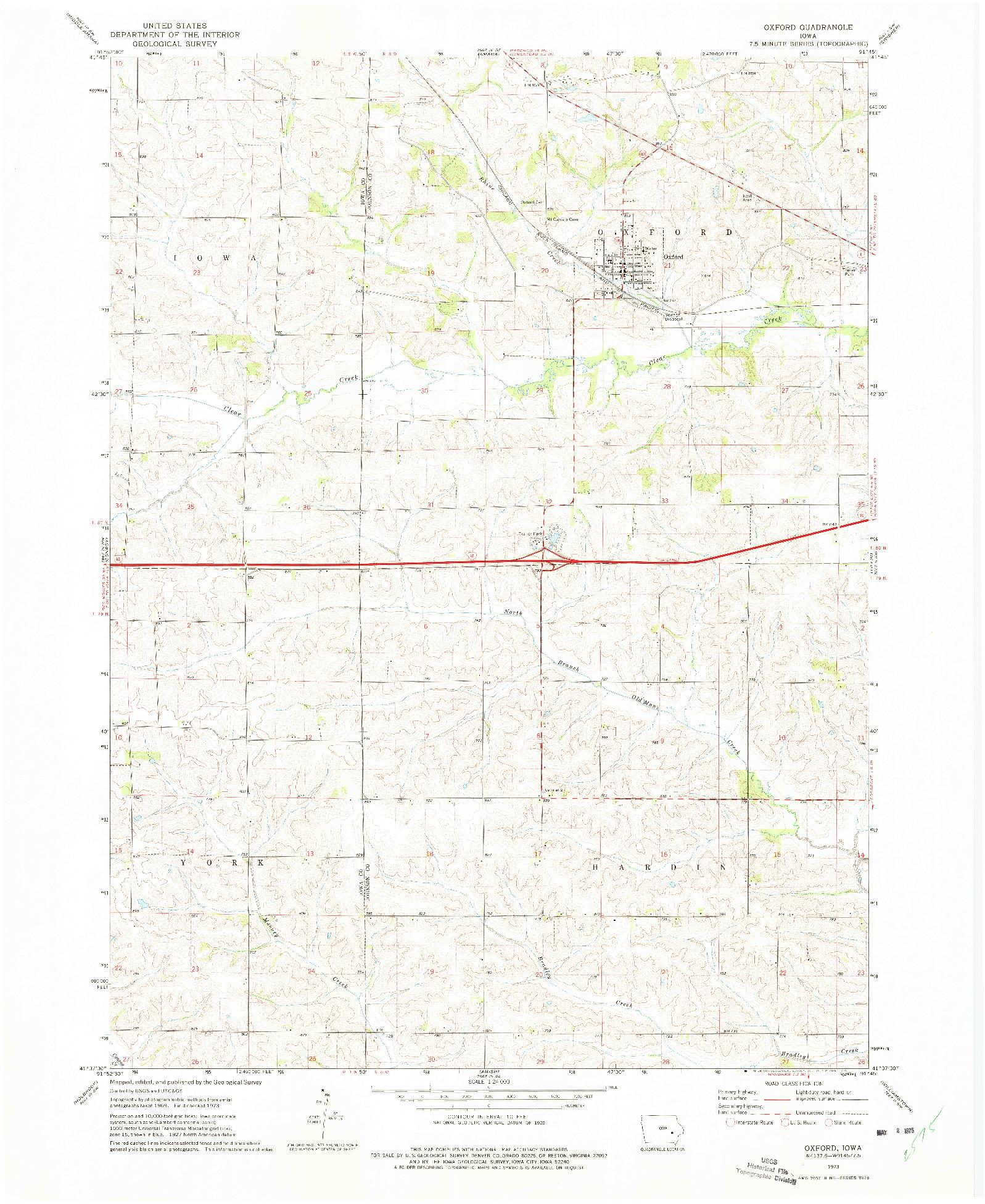 USGS 1:24000-SCALE QUADRANGLE FOR OXFORD, IA 1973
