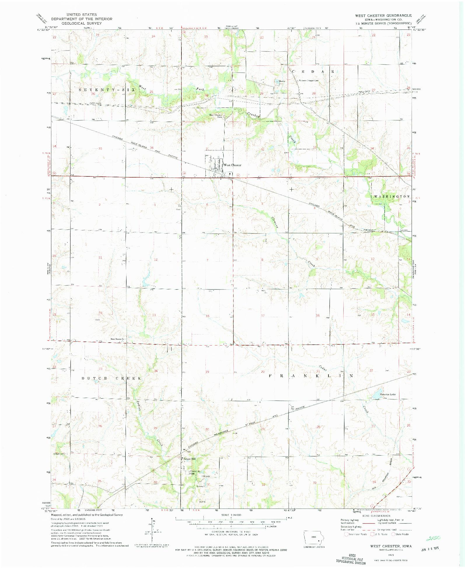 USGS 1:24000-SCALE QUADRANGLE FOR WEST CHESTER, IA 1973