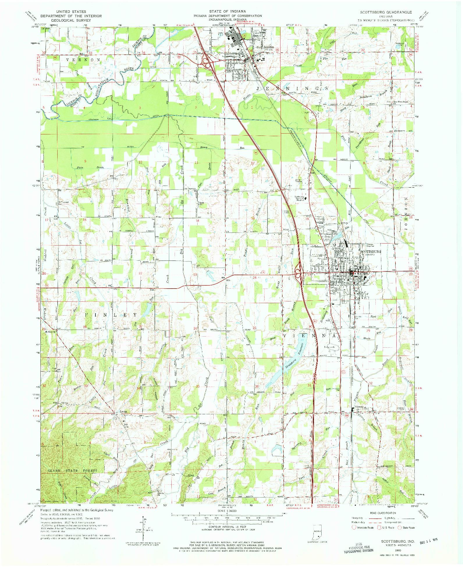 USGS 1:24000-SCALE QUADRANGLE FOR SCOTTSBURG, IN 1960