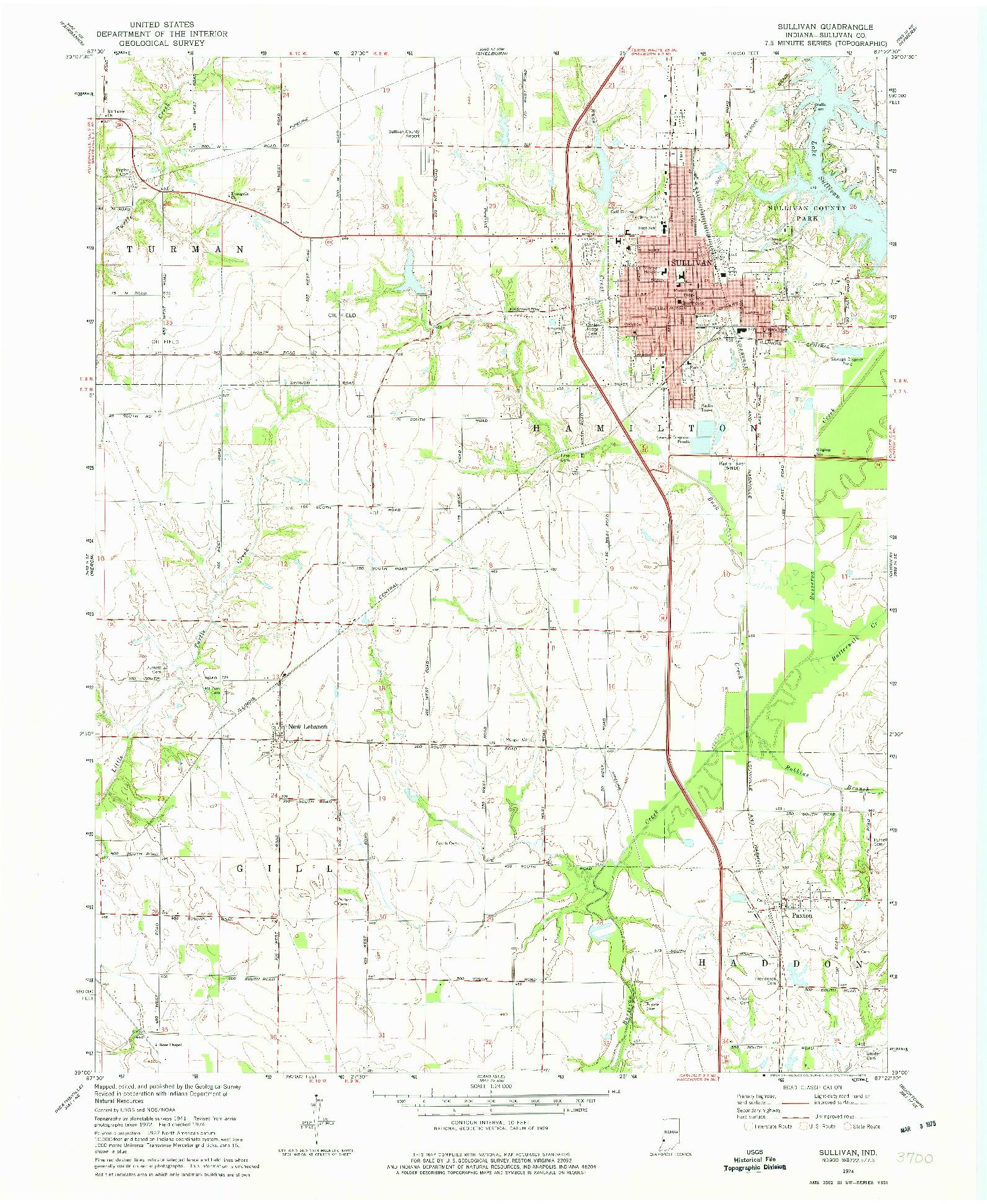 USGS 1:24000-SCALE QUADRANGLE FOR SULLIVAN, IN 1974