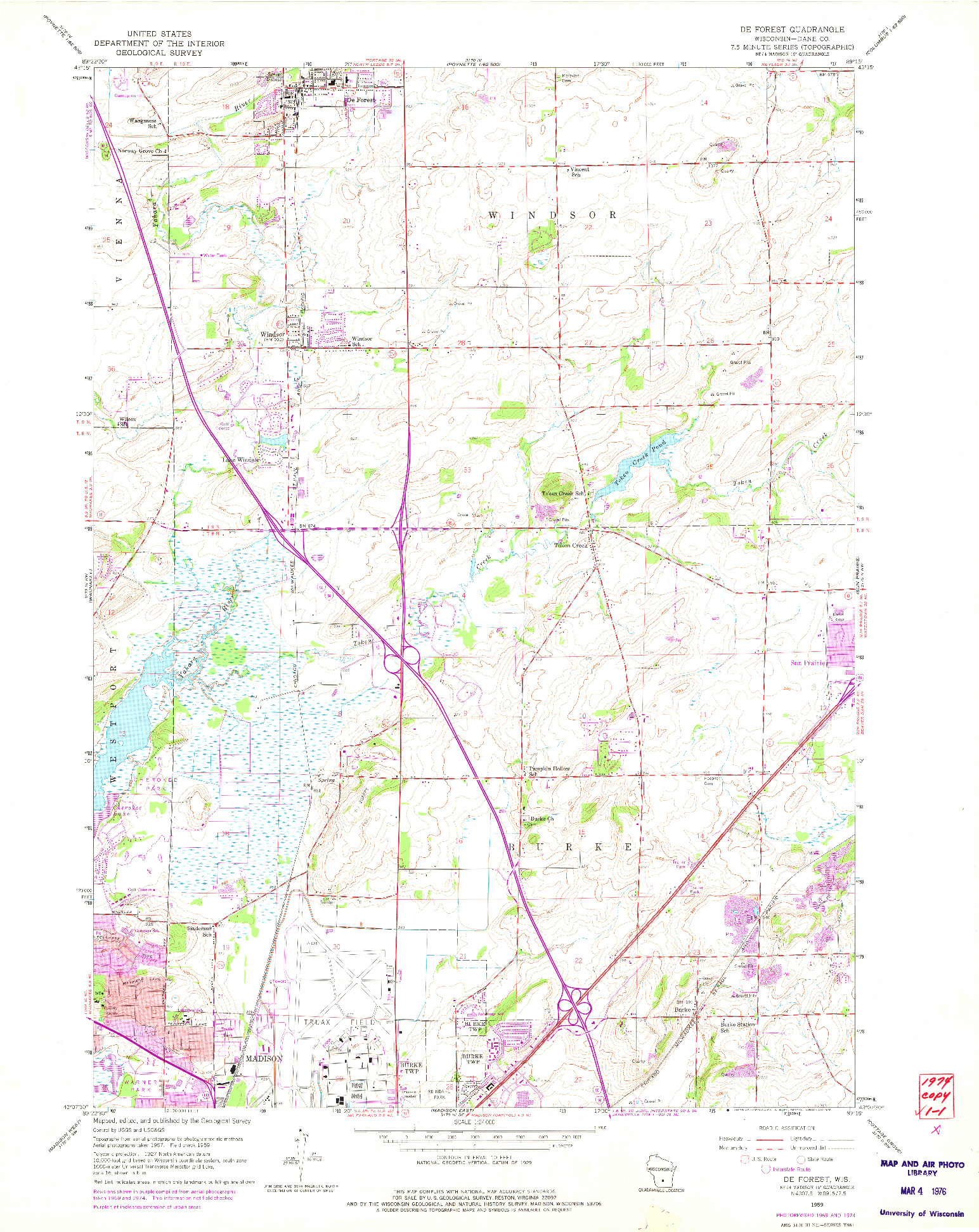 USGS 1:24000-SCALE QUADRANGLE FOR DE FOREST, WI 1959