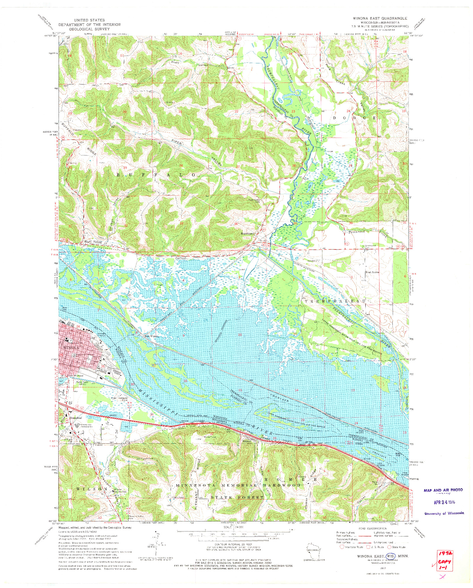 USGS 1:24000-SCALE QUADRANGLE FOR WINONA EAST, WI 1972