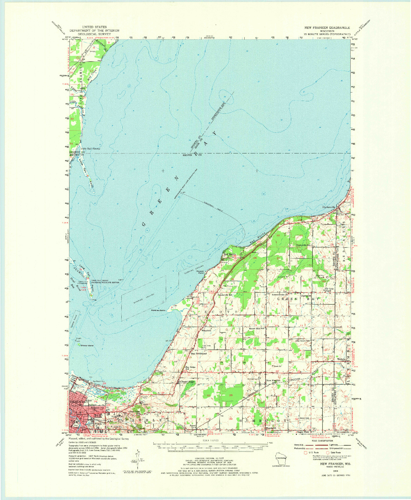 USGS 1:62500-SCALE QUADRANGLE FOR NEW FRANKEN, WI 1954