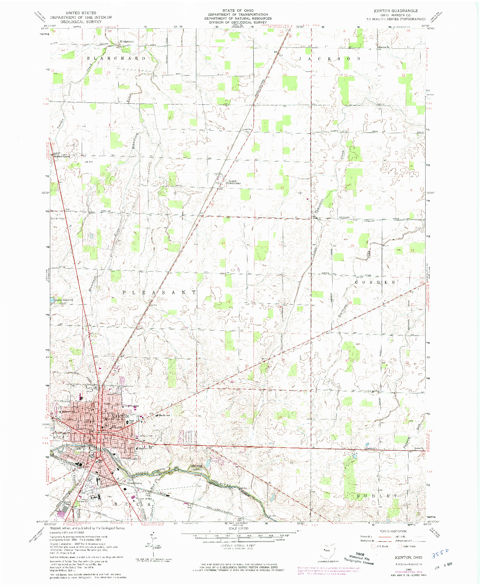 USGS 1:24000-SCALE QUADRANGLE FOR KENTON, OH 1961