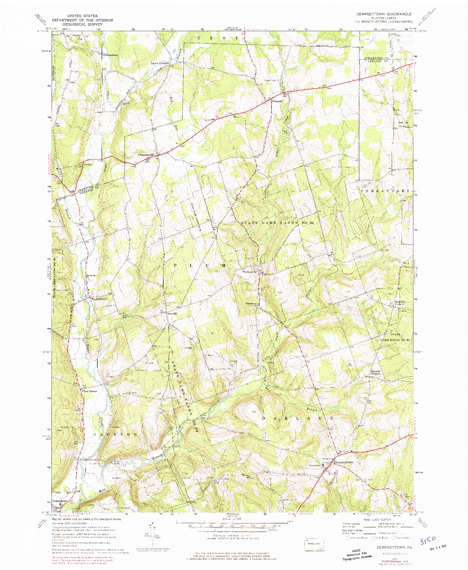 USGS 1:24000-SCALE QUADRANGLE FOR DEMPSEYTOWN, PA 1967
