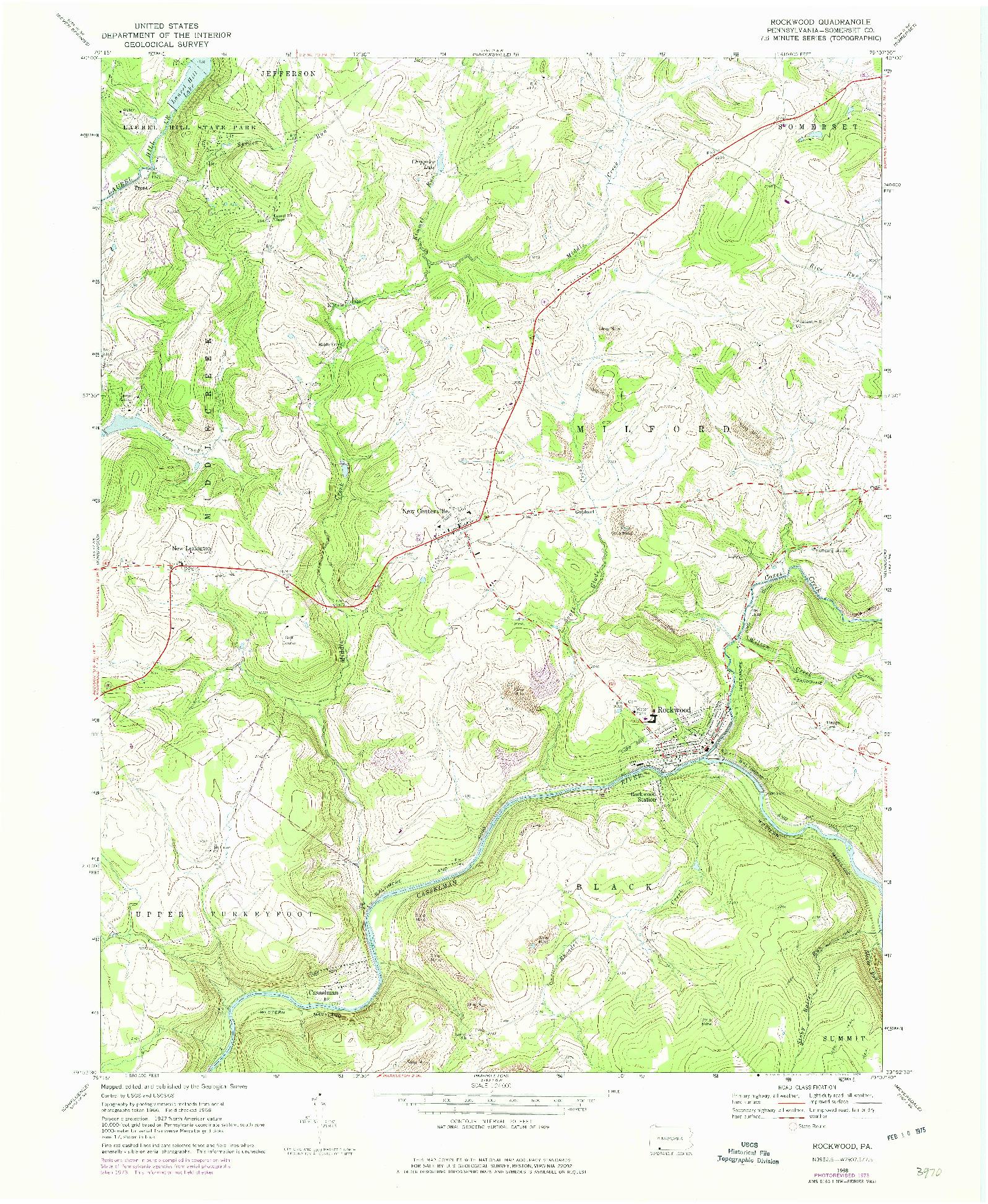 USGS 1:24000-SCALE QUADRANGLE FOR ROCKWOOD, PA 1968