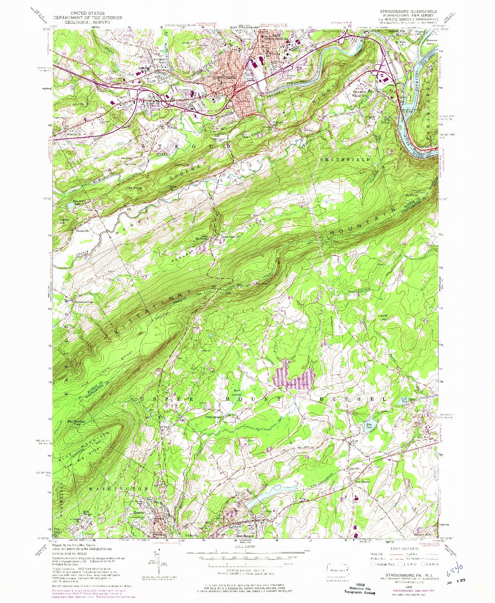 USGS 1:24000-SCALE QUADRANGLE FOR STROUDSBURG, PA 1955