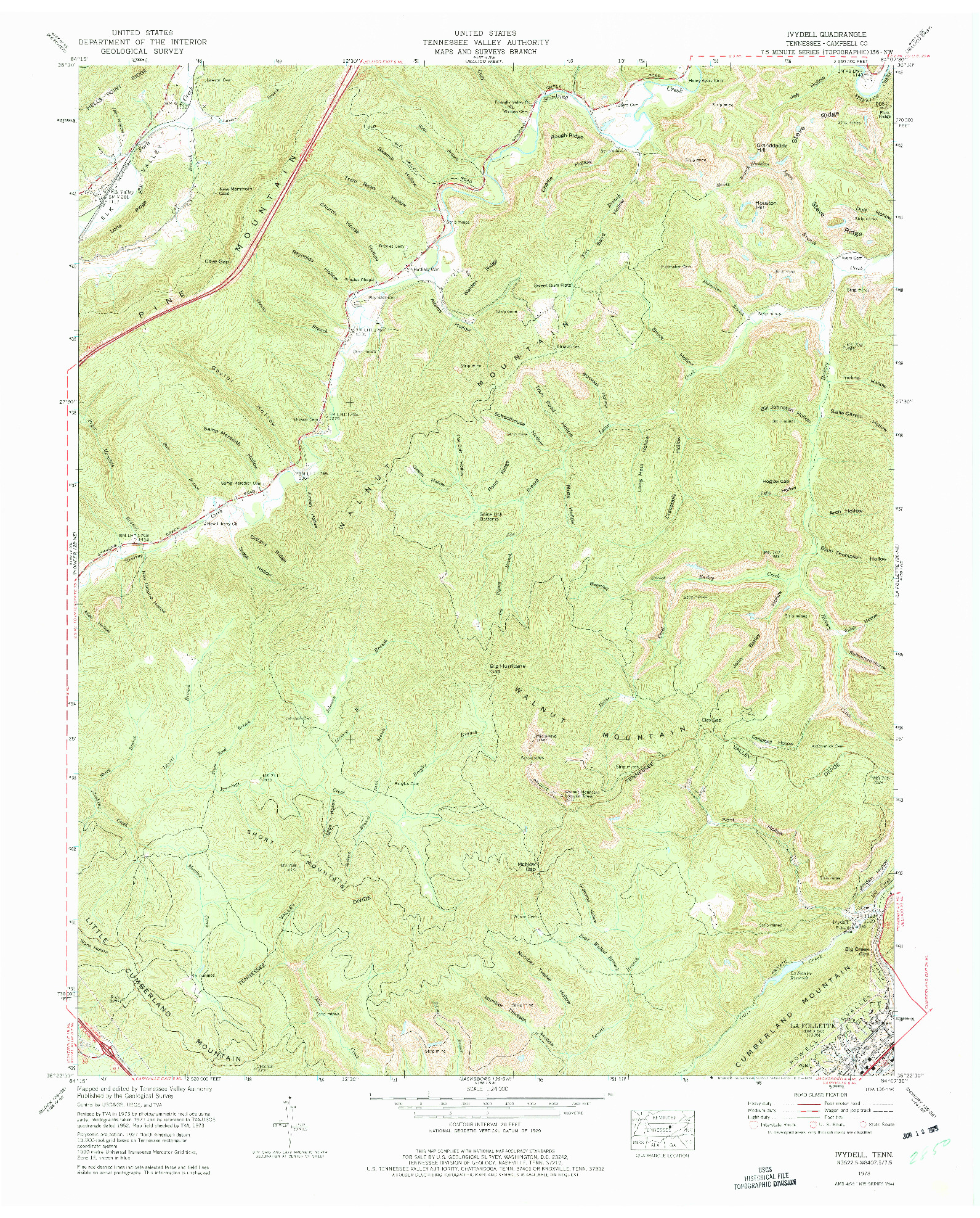 USGS 1:24000-SCALE QUADRANGLE FOR IVYDELL, TN 1973