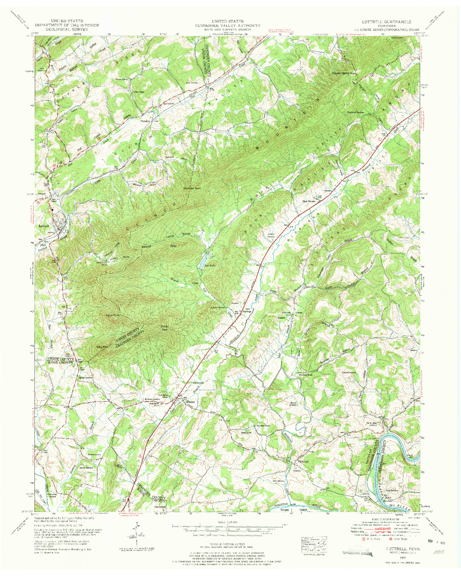 USGS 1:24000-SCALE QUADRANGLE FOR LUTTRELL, TN 1952