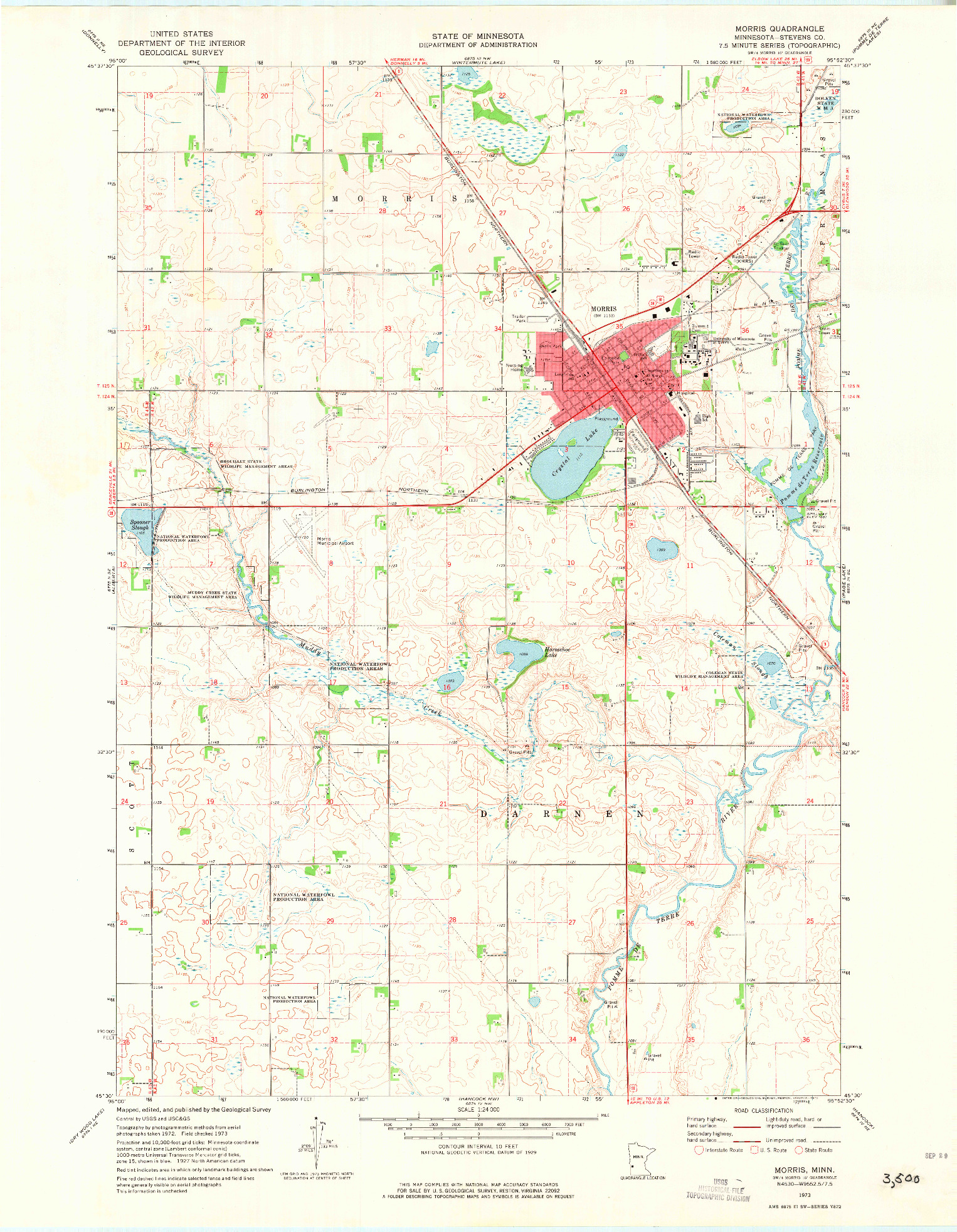 USGS 1:24000-SCALE QUADRANGLE FOR MORRIS, MN 1973