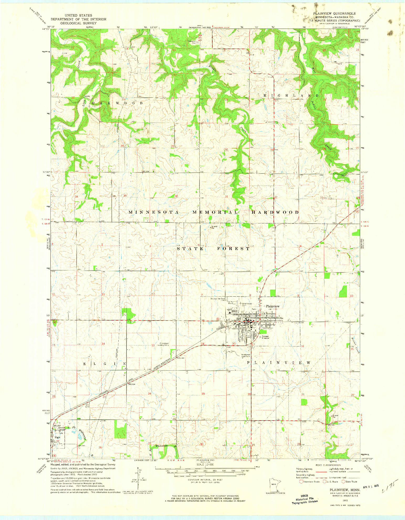 USGS 1:24000-SCALE QUADRANGLE FOR PLAINVIEW, MN 1972