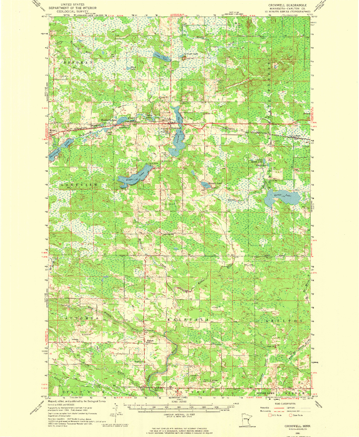 USGS 1:62500-SCALE QUADRANGLE FOR CROMWELL, MN 1961