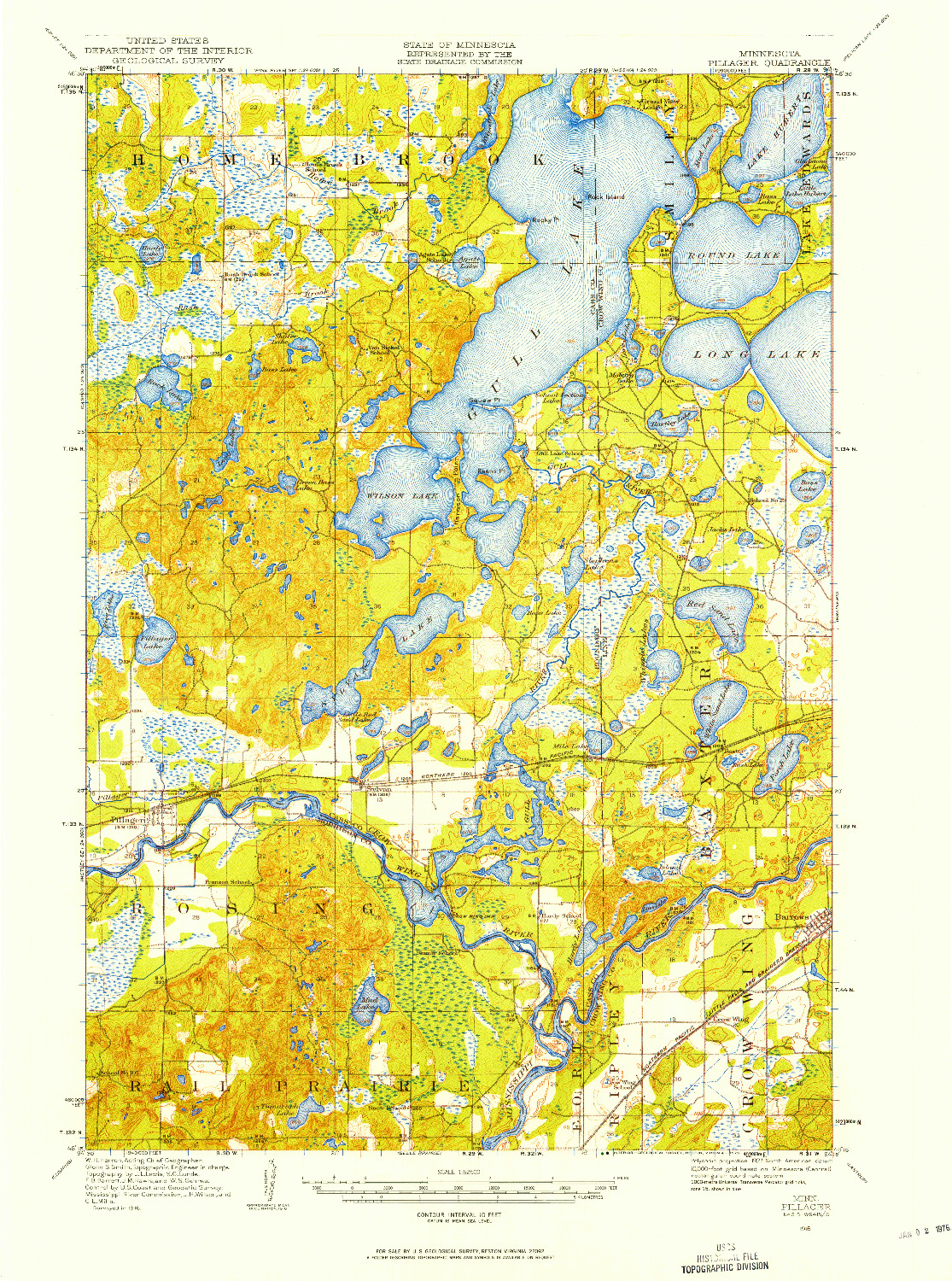 USGS 1:62500-SCALE QUADRANGLE FOR PILLAGER, MN 1916