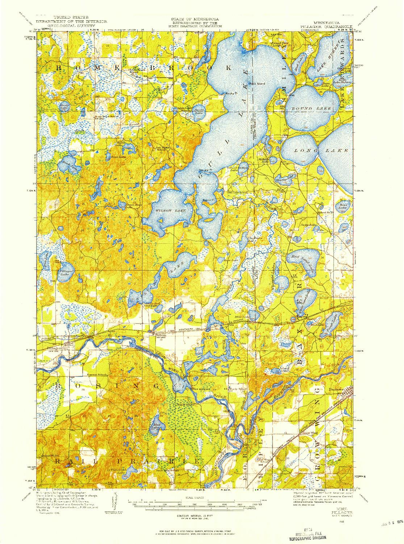 USGS 1:62500-SCALE QUADRANGLE FOR PILLAGER, MN 1916