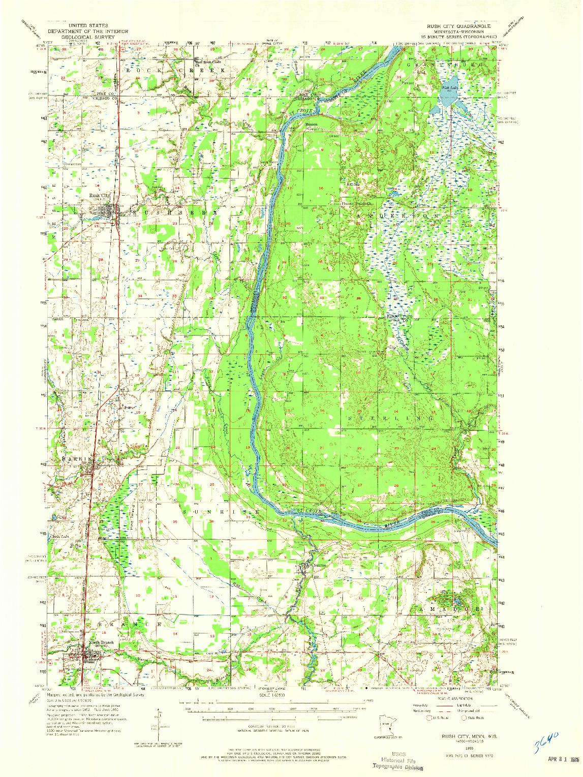 USGS 1:62500-SCALE QUADRANGLE FOR RUSH CITY, MN 1955