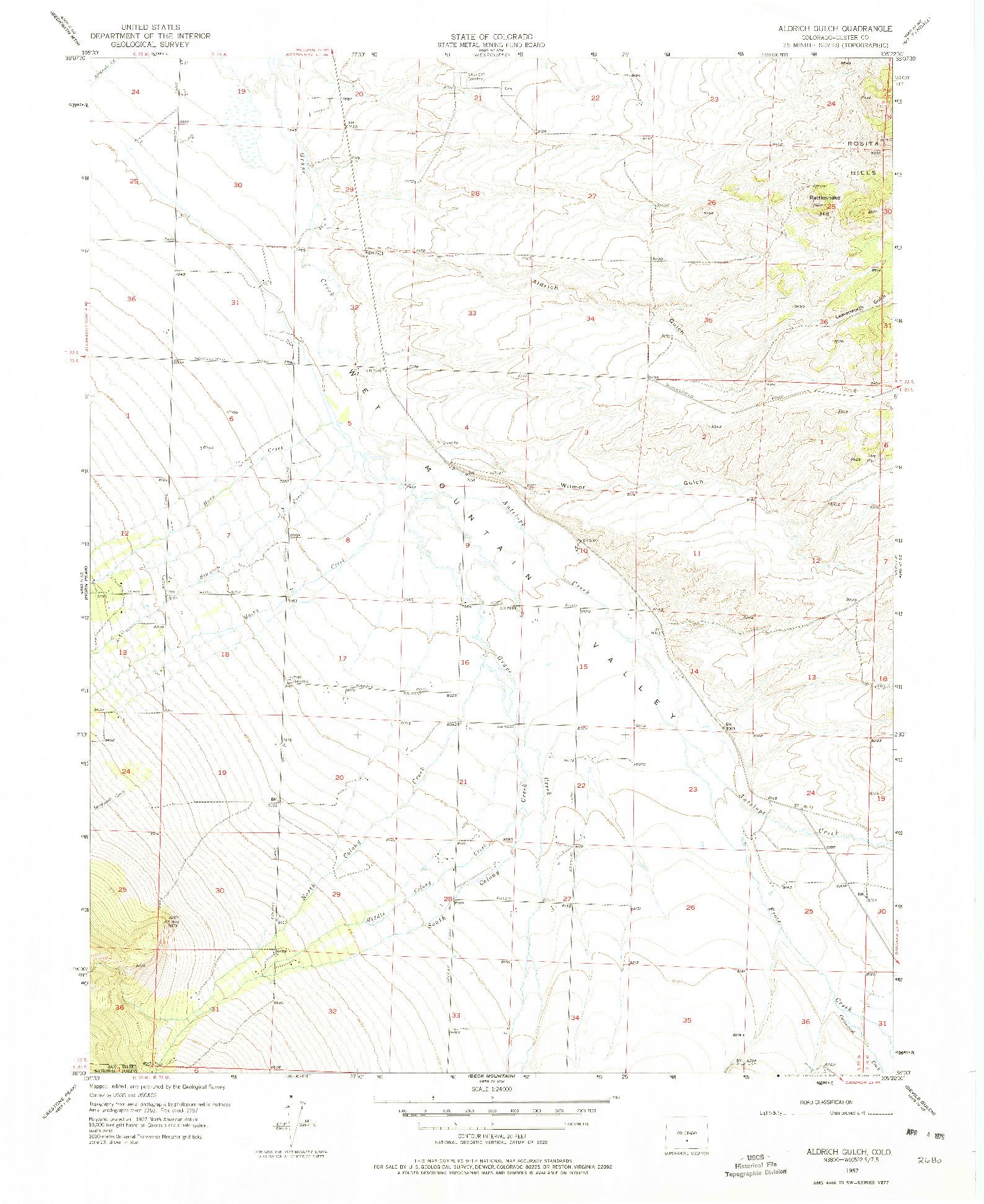 USGS 1:24000-SCALE QUADRANGLE FOR ALDRICH GULCH, CO 1957