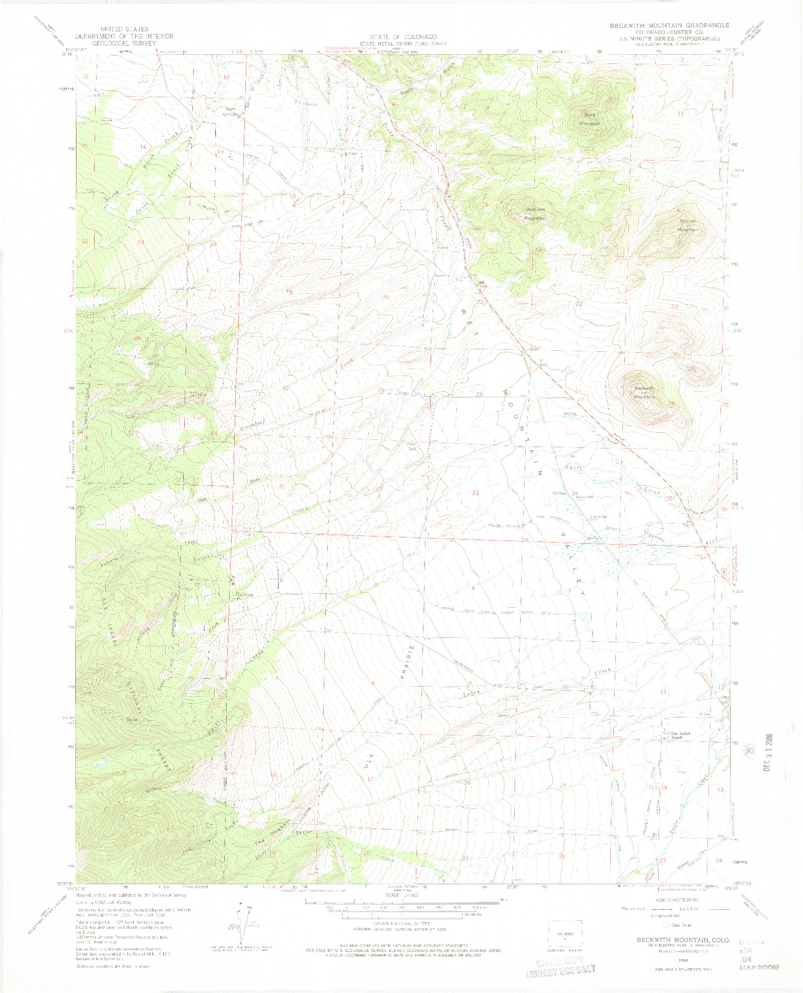 USGS 1:24000-SCALE QUADRANGLE FOR BECKWITH MOUNTAIN, CO 1958