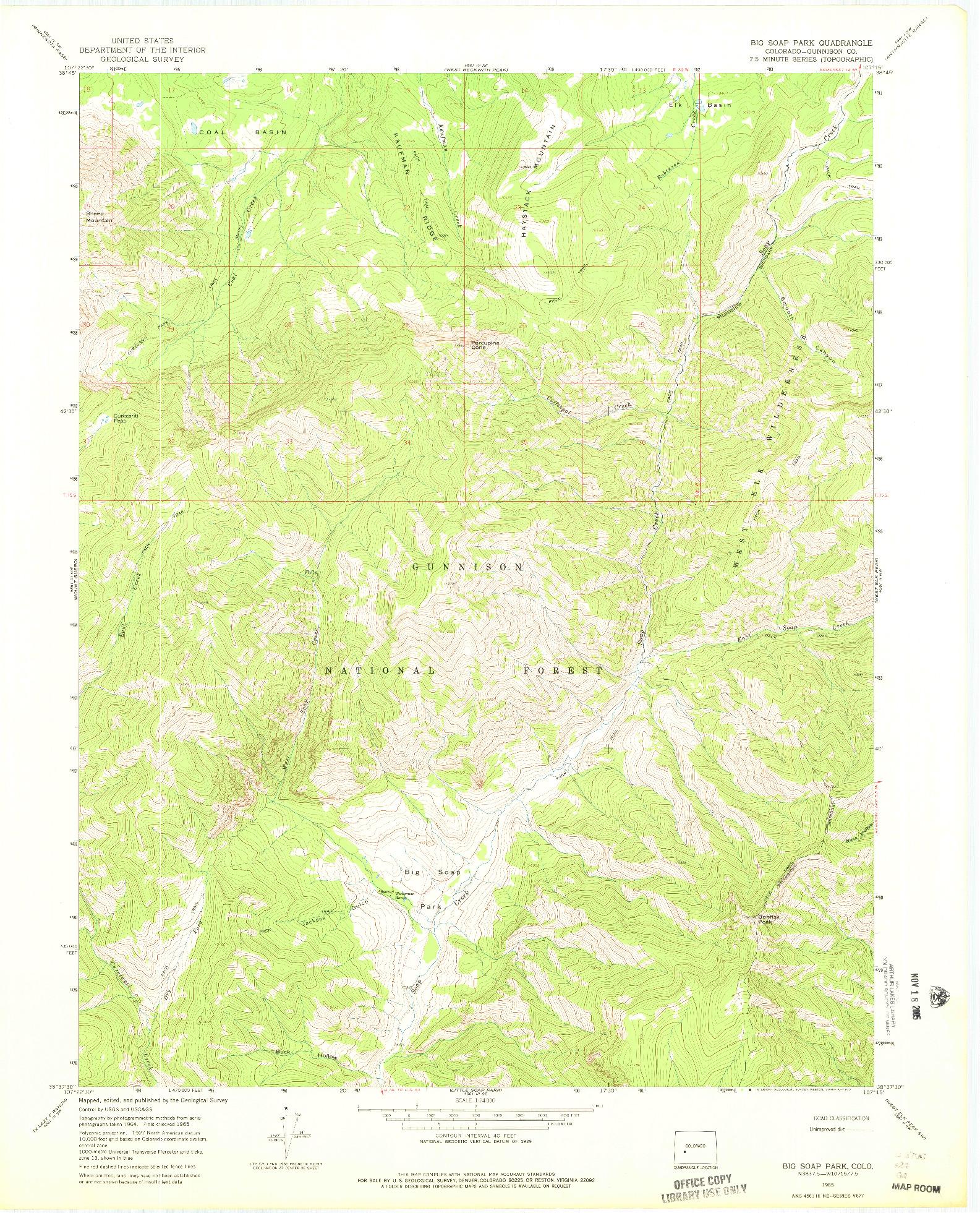 USGS 1:24000-SCALE QUADRANGLE FOR BIG SOAP PARK, CO 1965