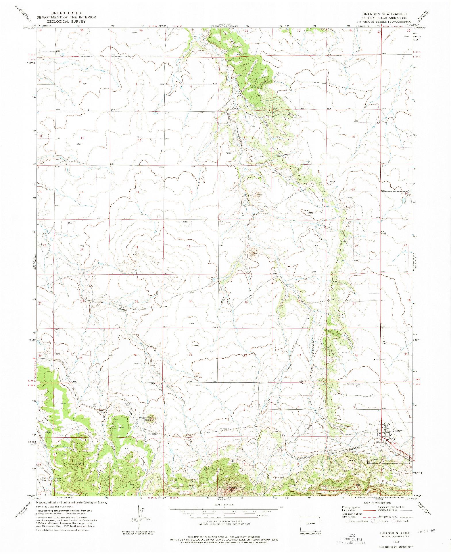 USGS 1:24000-SCALE QUADRANGLE FOR BRANSON, CO 1972