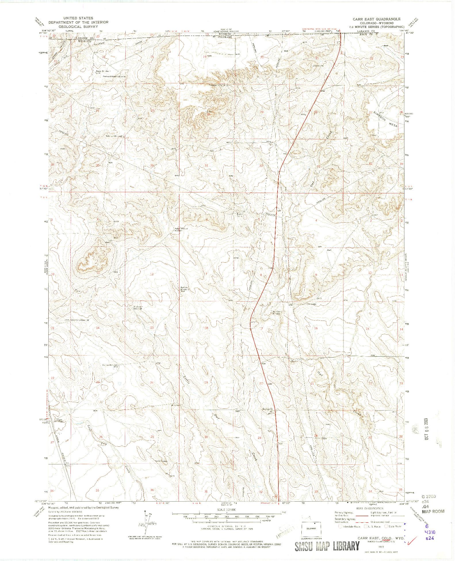 USGS 1:24000-SCALE QUADRANGLE FOR CARR EAST, CO 1972