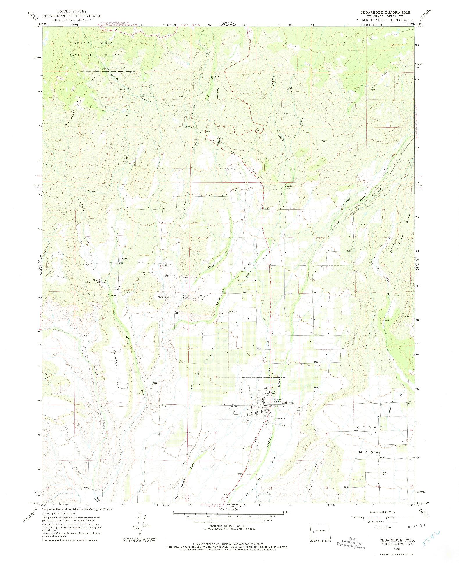 USGS 1:24000-SCALE QUADRANGLE FOR CEDAREDGE, CO 1965