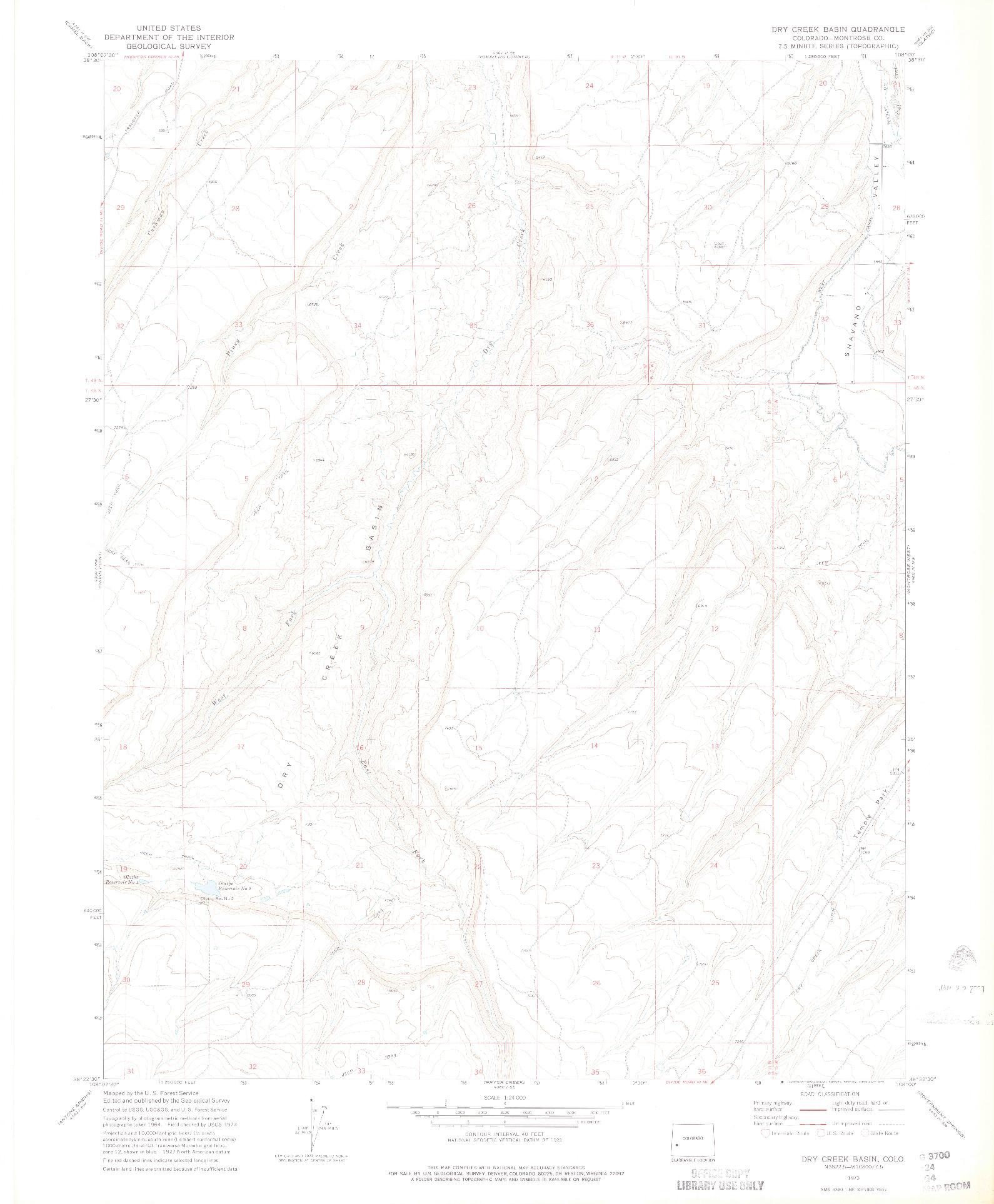 USGS 1:24000-SCALE QUADRANGLE FOR DRY CREEK BASIN, CO 1973