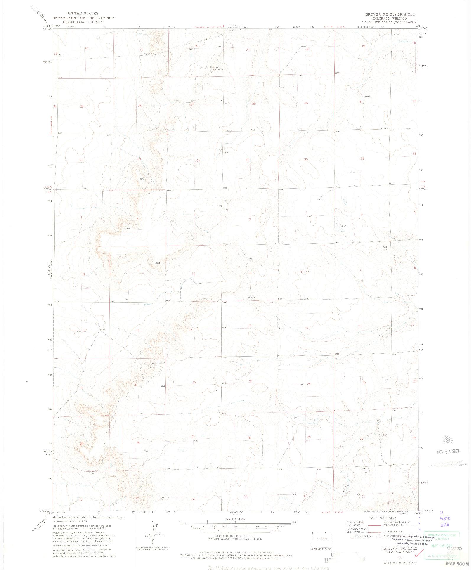 USGS 1:24000-SCALE QUADRANGLE FOR GROVER NE, CO 1972