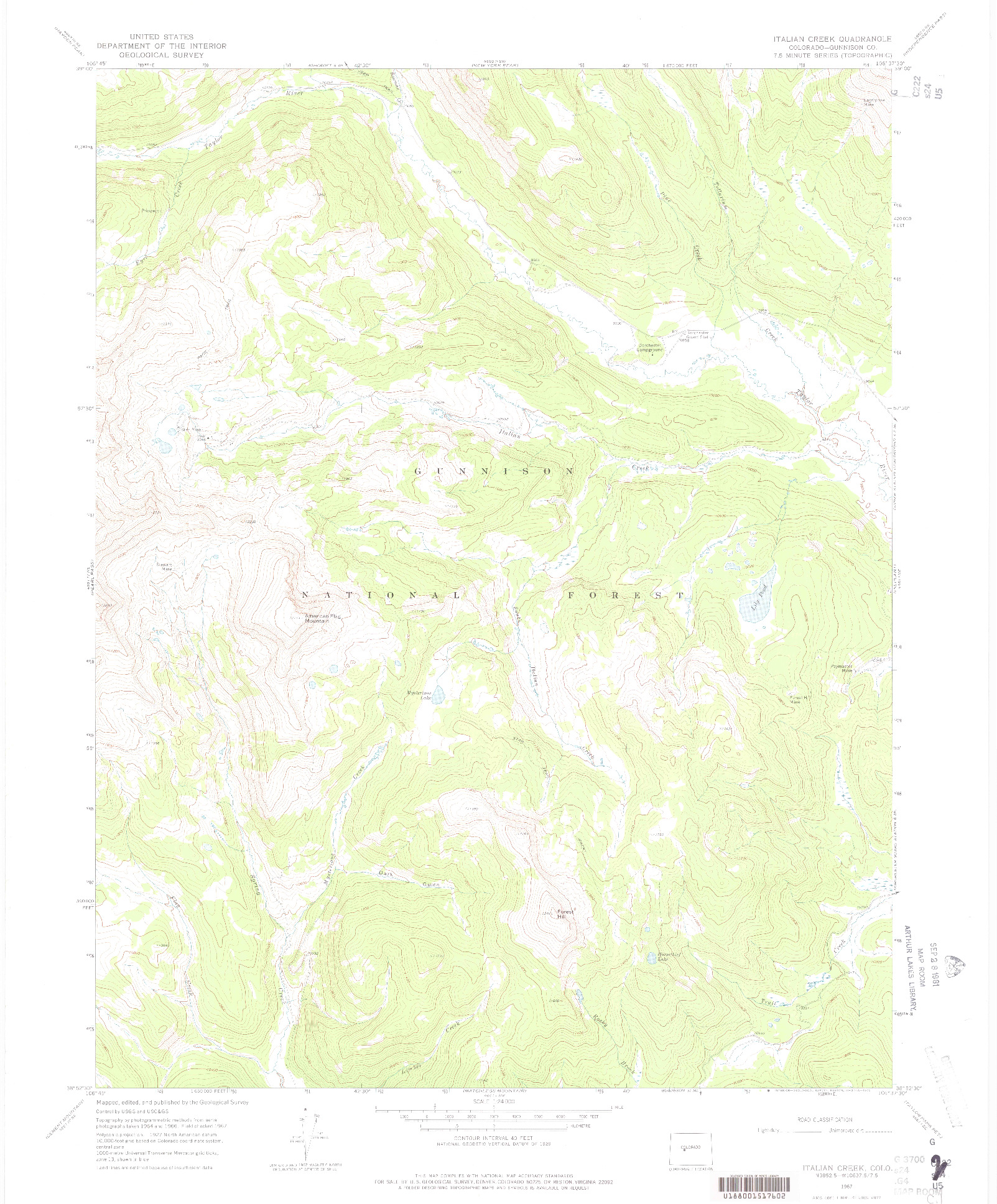 USGS 1:24000-SCALE QUADRANGLE FOR ITALIAN CREEK, CO 1967