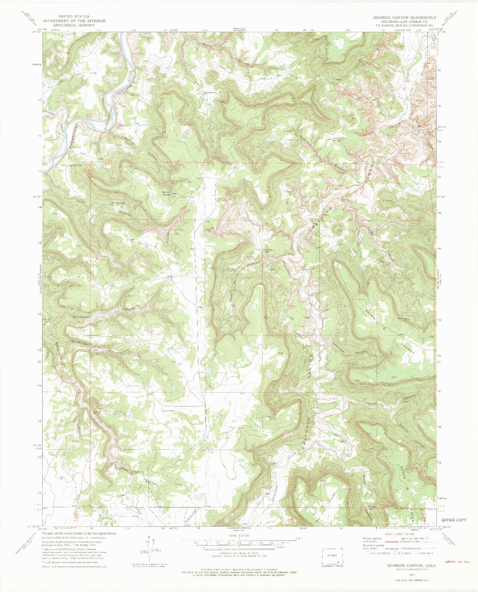 USGS 1:24000-SCALE QUADRANGLE FOR JOHNSON CANYON, CO 1972