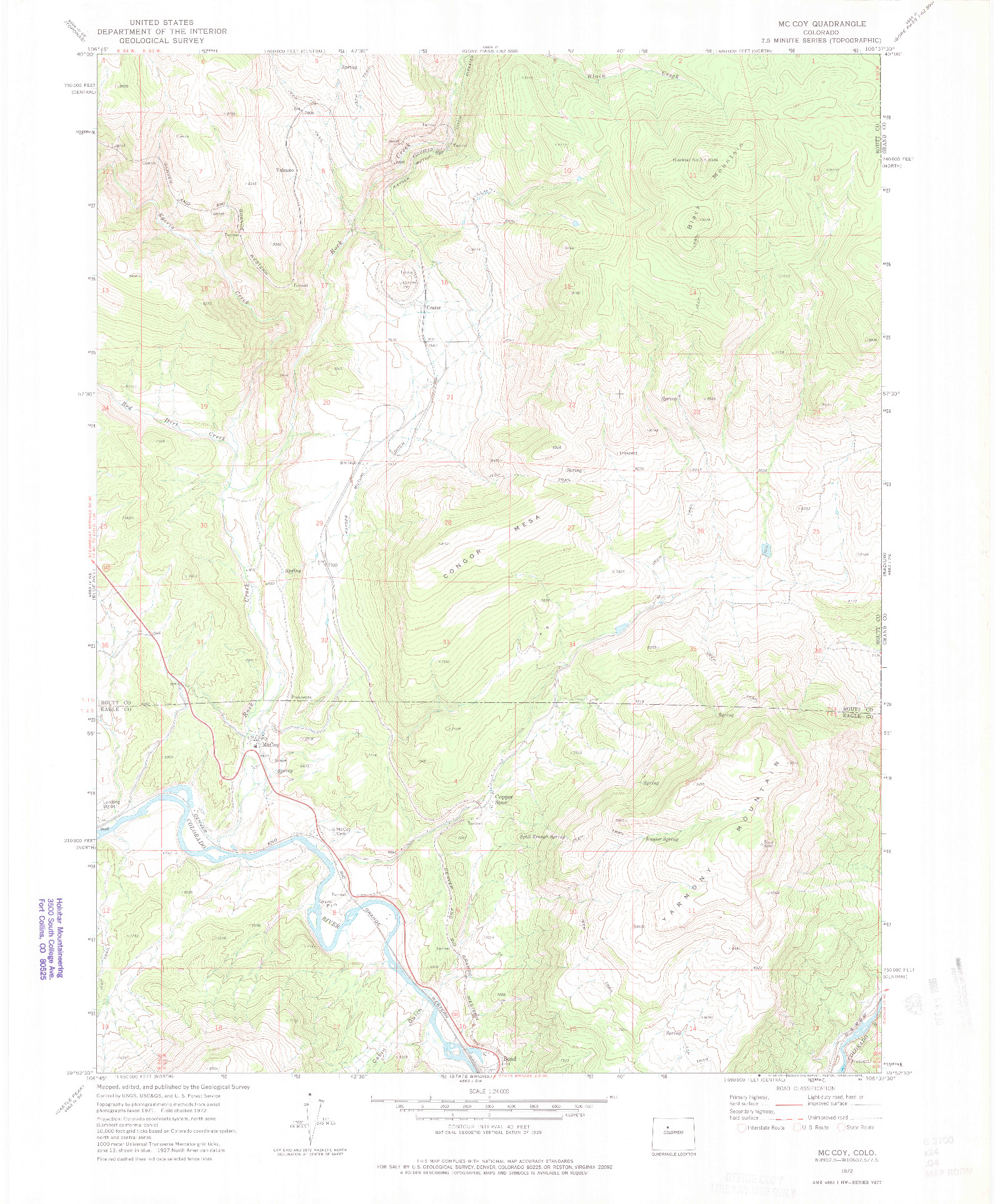 USGS 1:24000-SCALE QUADRANGLE FOR MC COY, CO 1972