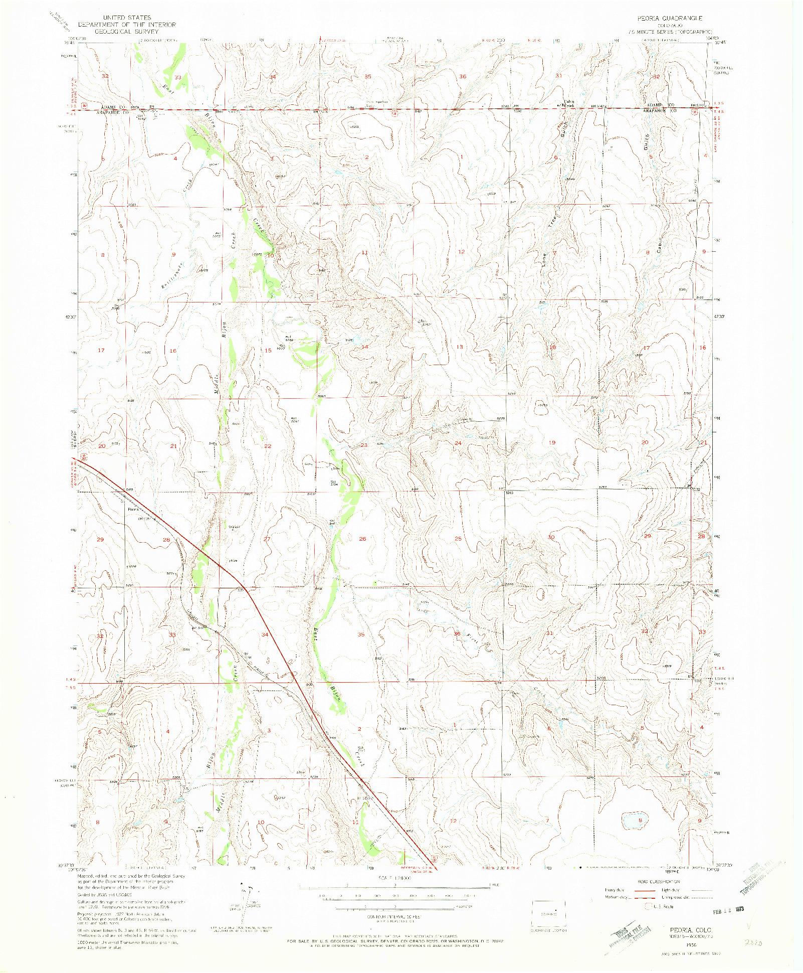 USGS 1:24000-SCALE QUADRANGLE FOR PEORIA, CO 1956