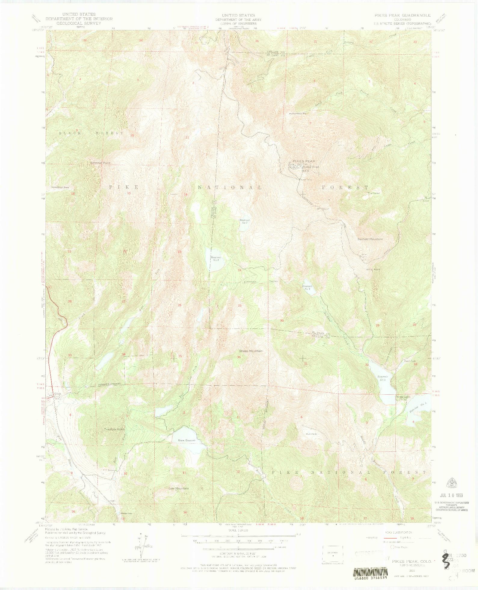 USGS 1:24000-SCALE QUADRANGLE FOR PIKES PEAK, CO 1951