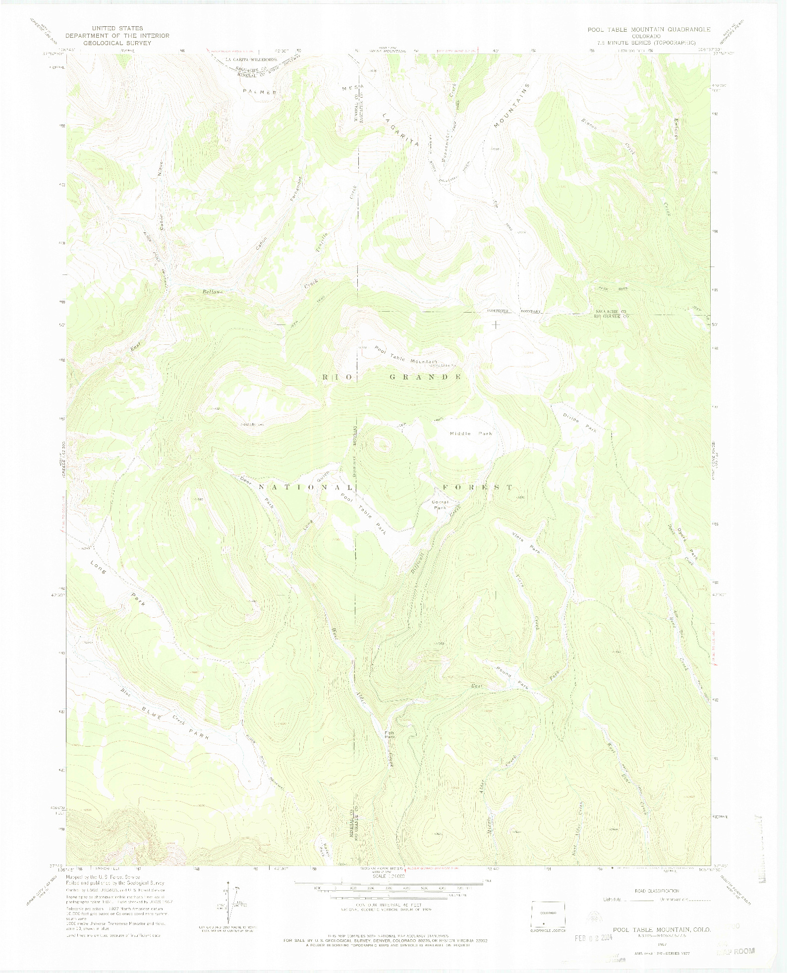 USGS 1:24000-SCALE QUADRANGLE FOR POOL TABLE MOUNTAIN, CO 1967