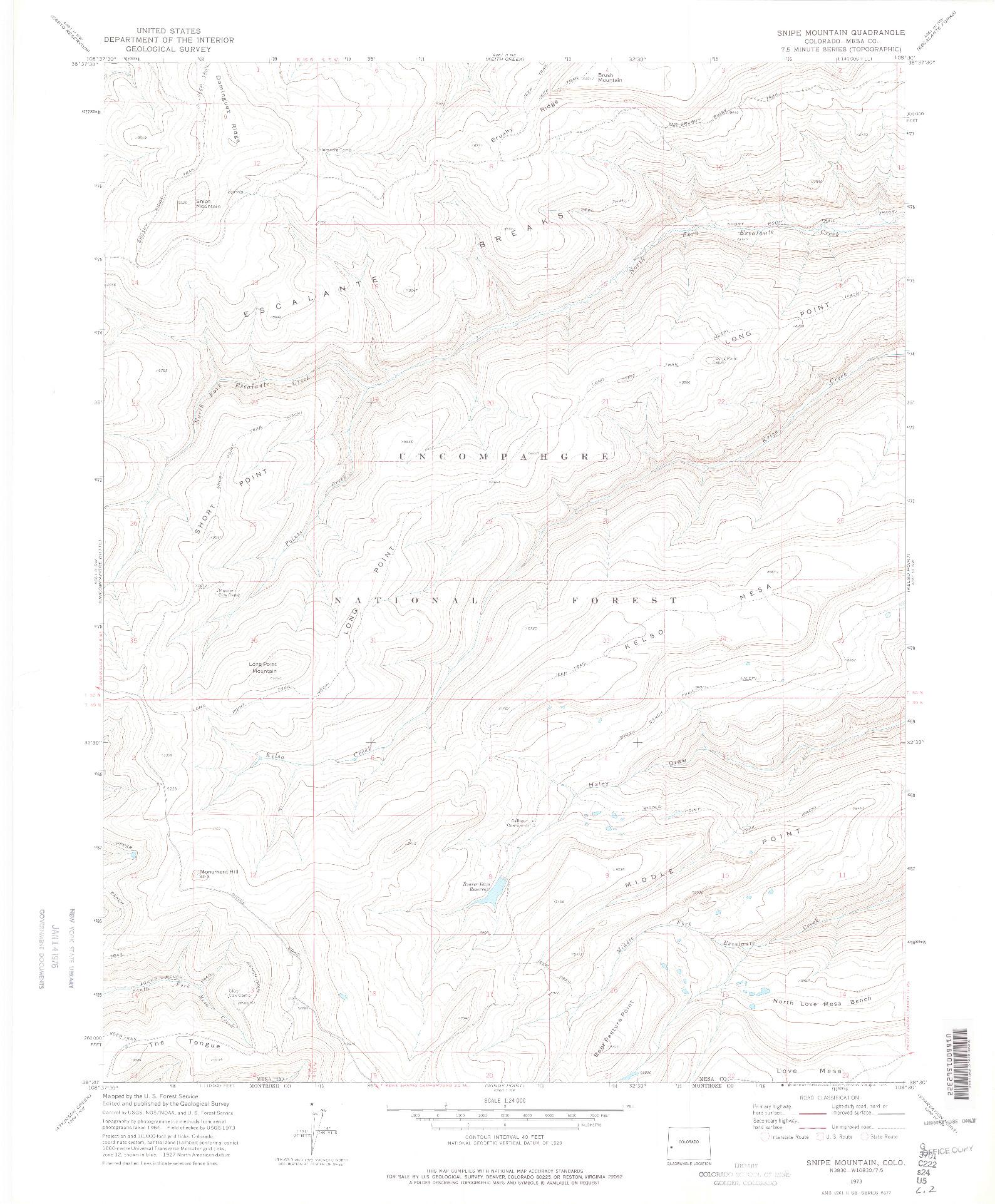 USGS 1:24000-SCALE QUADRANGLE FOR SNIPE MOUNTAIN, CO 1973