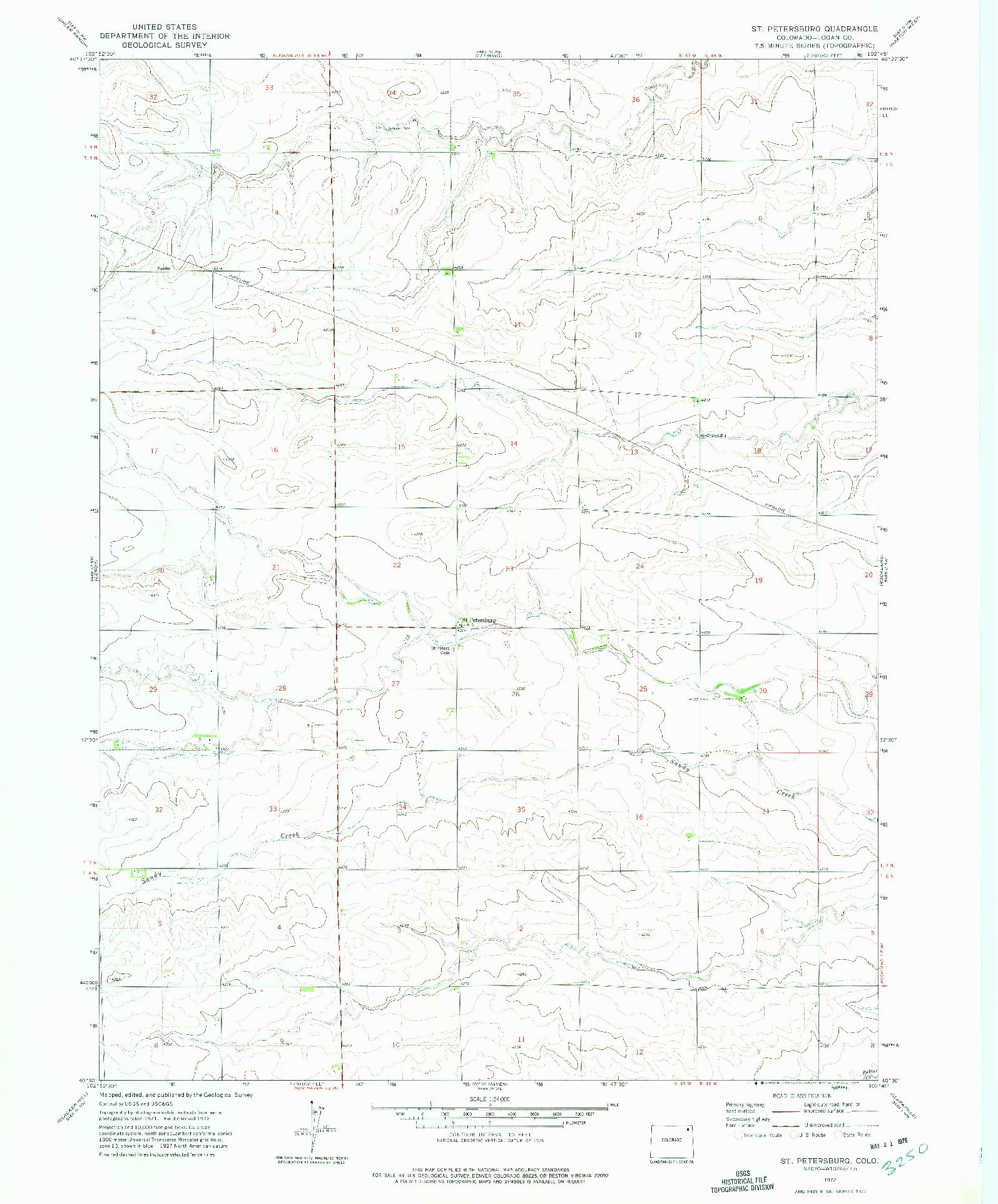 USGS 1:24000-SCALE QUADRANGLE FOR ST PETERSBURG, CO 1972