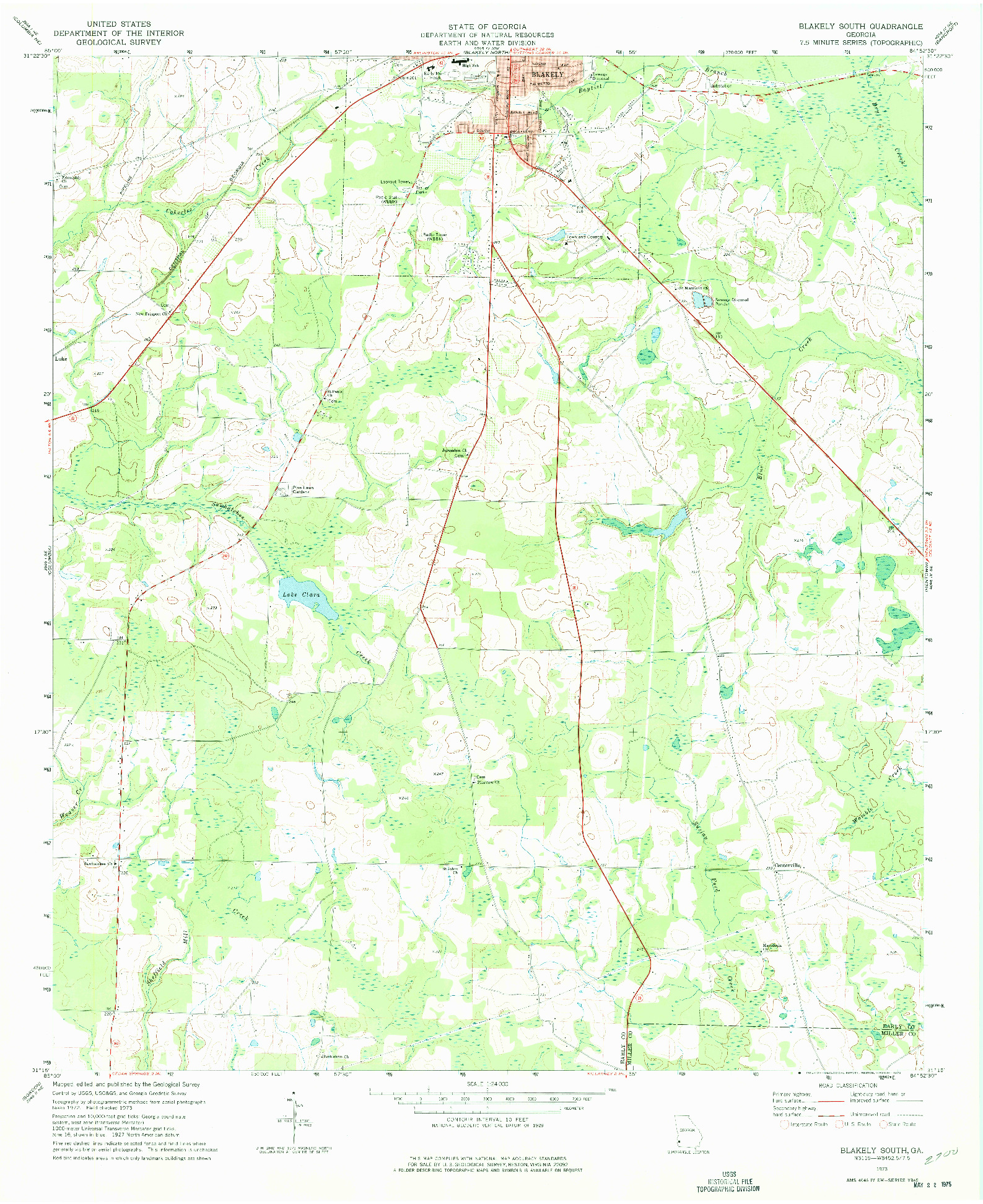 USGS 1:24000-SCALE QUADRANGLE FOR BLAKELY SOUTH, GA 1973