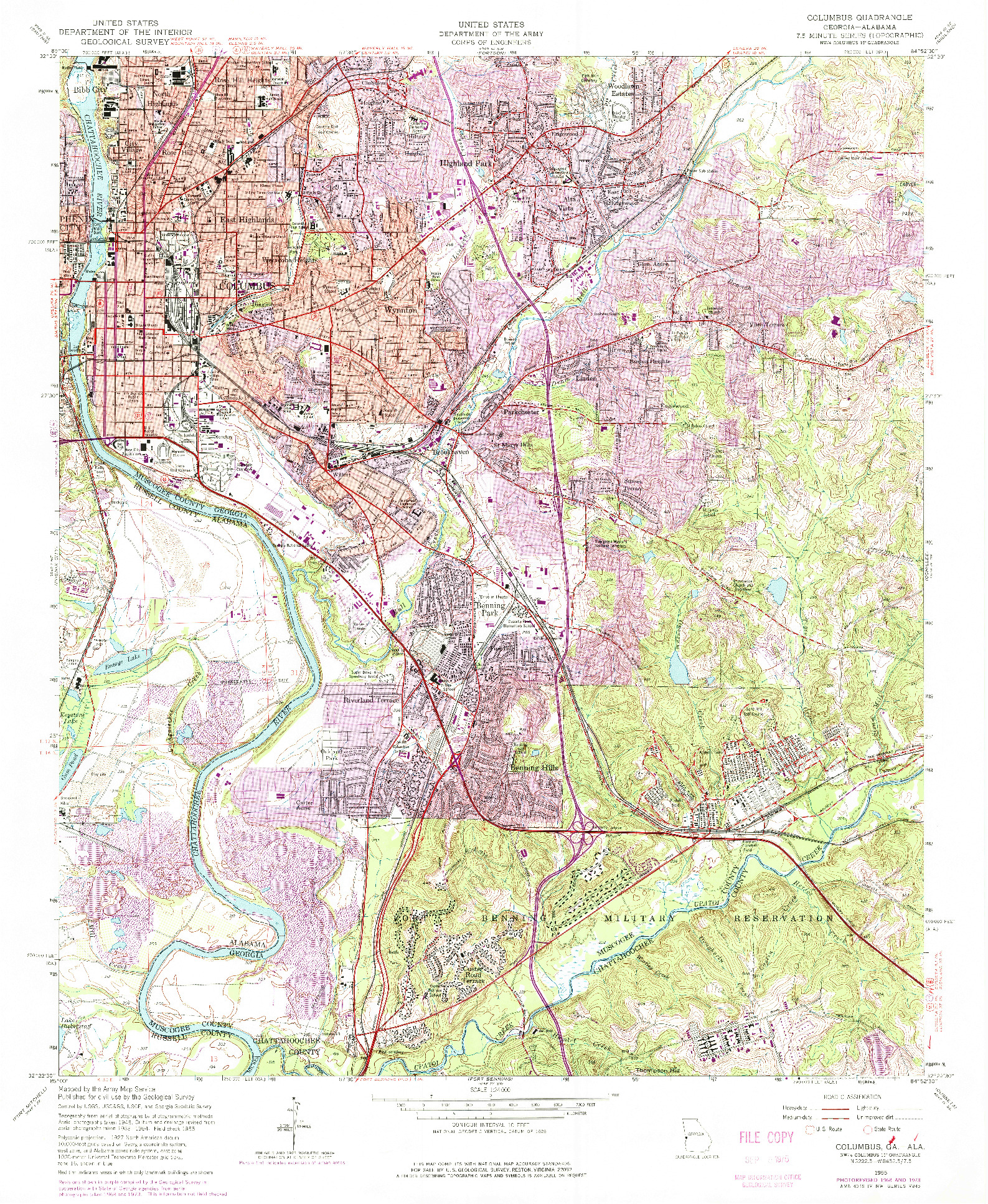 USGS 1:24000-SCALE QUADRANGLE FOR COLUMBUS, GA 1955