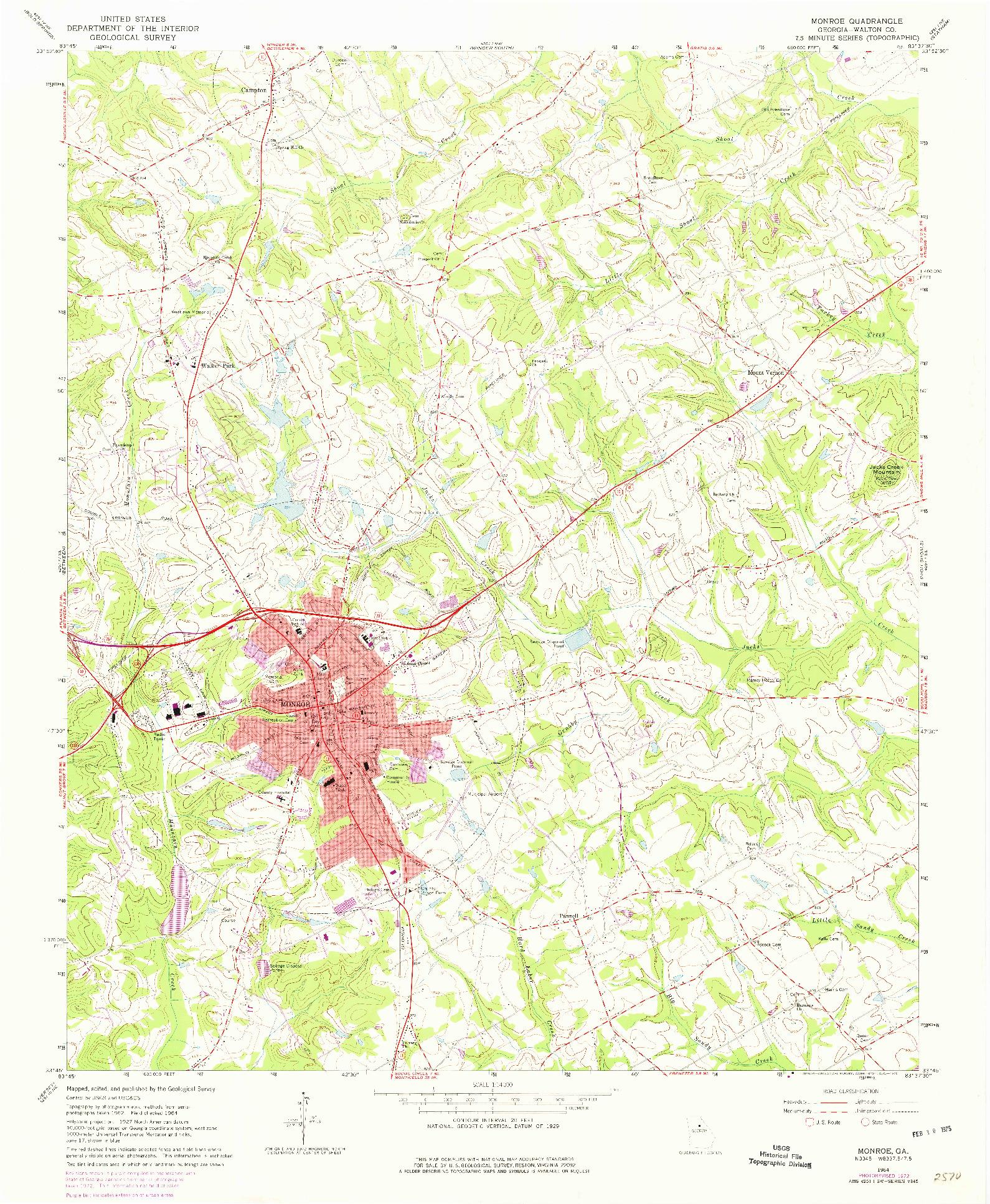 USGS 1:24000-SCALE QUADRANGLE FOR MONROE, GA 1964