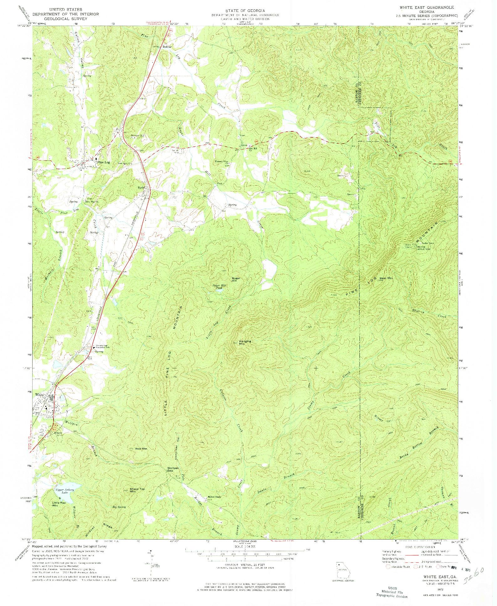 USGS 1:24000-SCALE QUADRANGLE FOR WHITE EAST, GA 1972