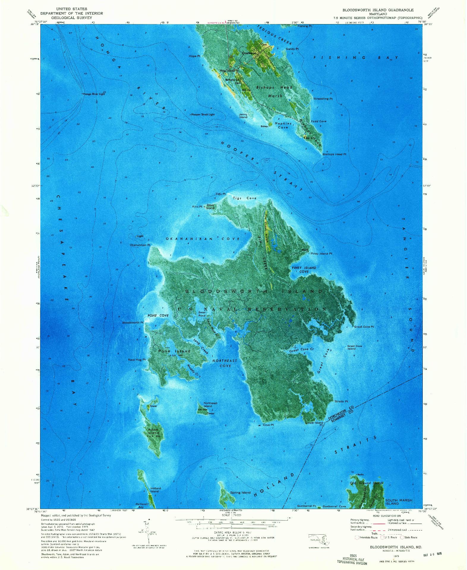 USGS 1:24000-SCALE QUADRANGLE FOR BLOODSWORTH ISLAND, MD 1973