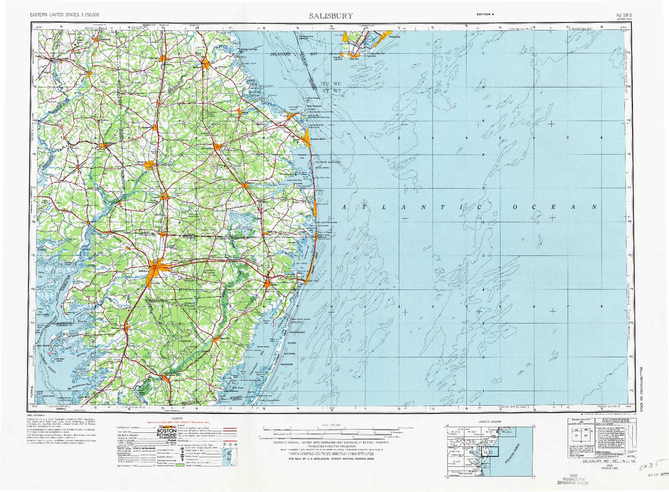 USGS 1:250000-SCALE QUADRANGLE FOR SALISBURY, MD 1946